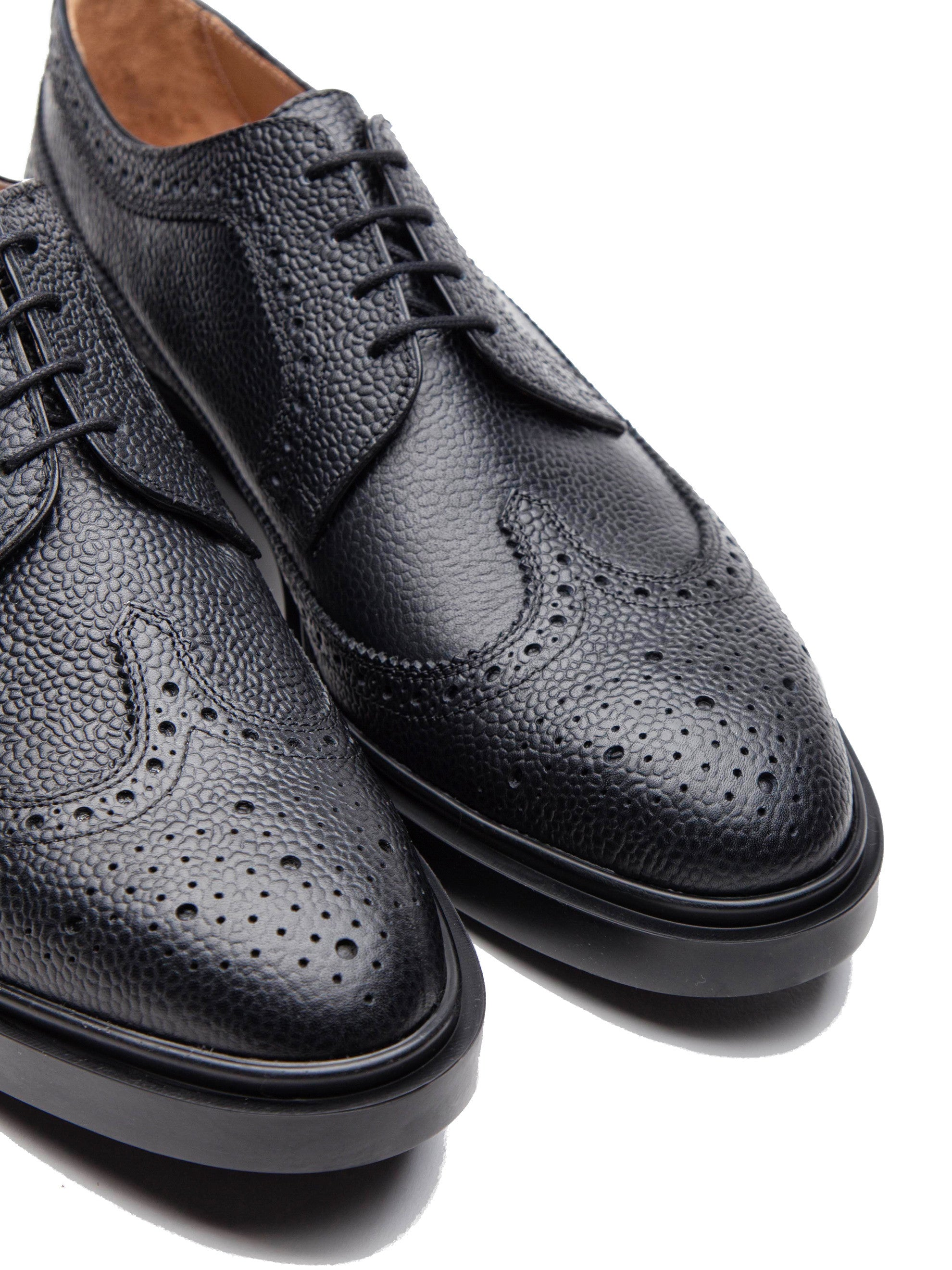 Black Classic Long Wing Brogue (Lightweight Rubber Sole/Pebble Grain) 2