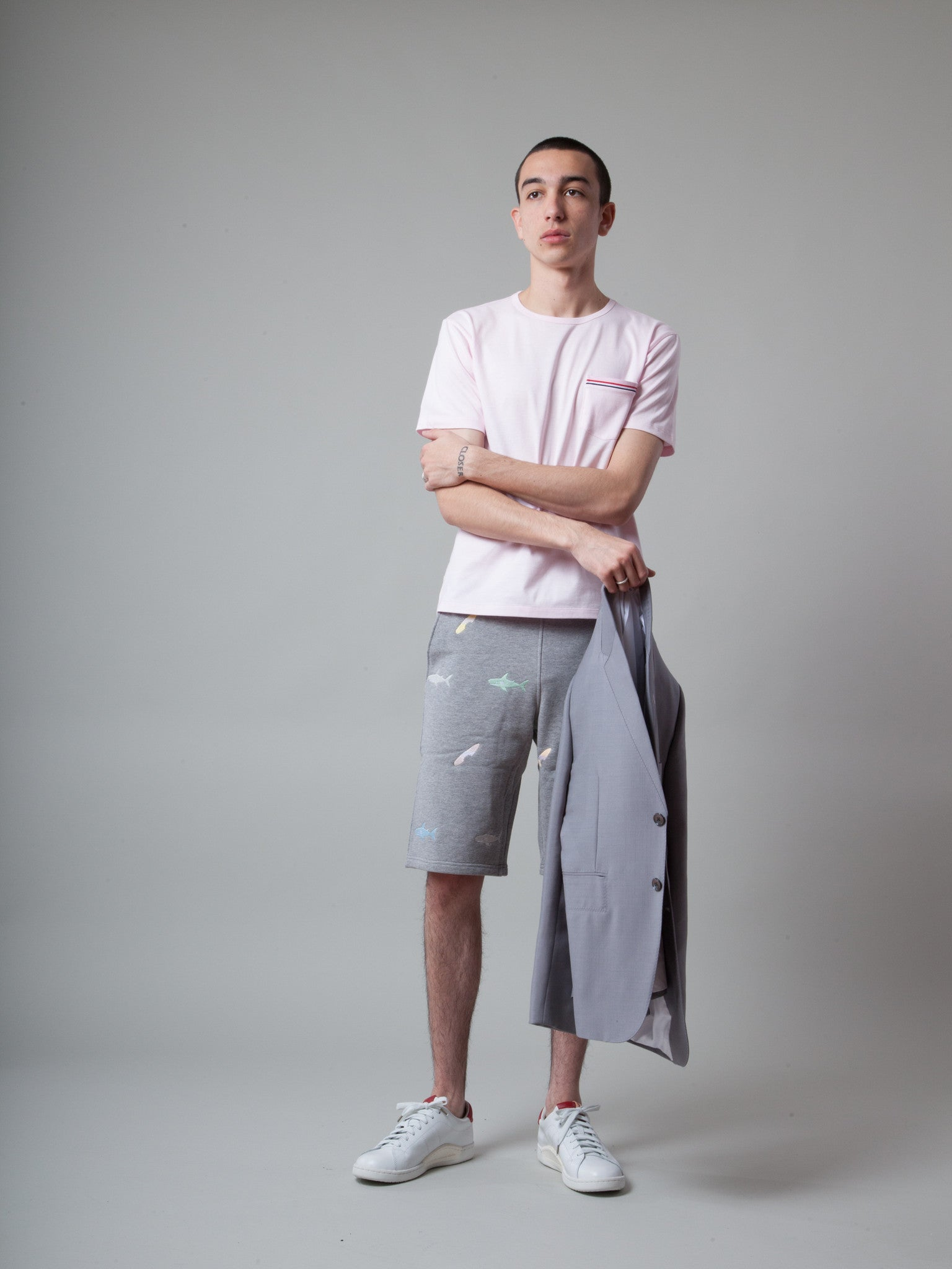 Classic Sweat Shorts Loop Back (Shark Embroidered Jacquard)
