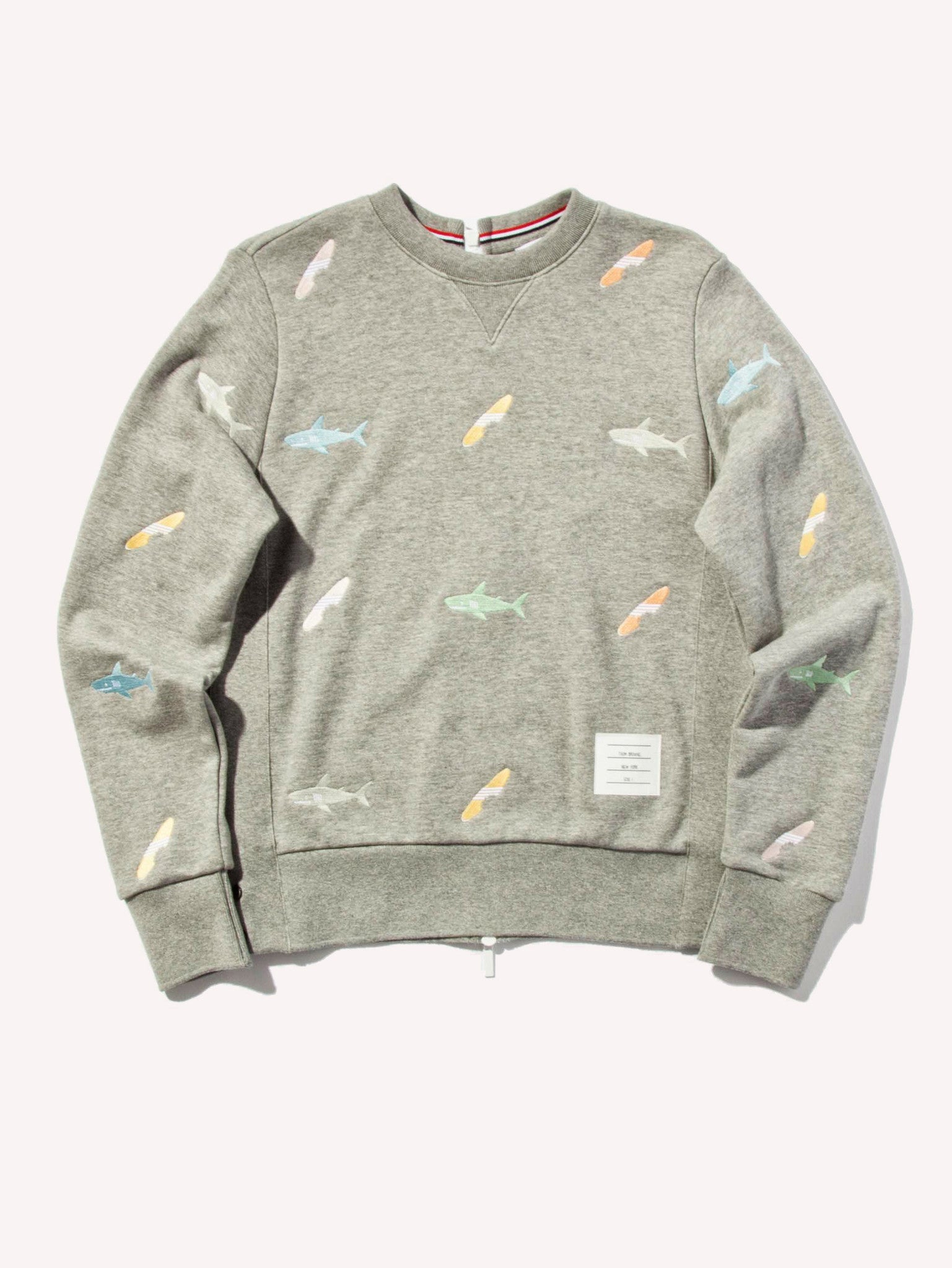 Light Grey Classic Sweatshirt (Aqua Zip Loop Back) 1
