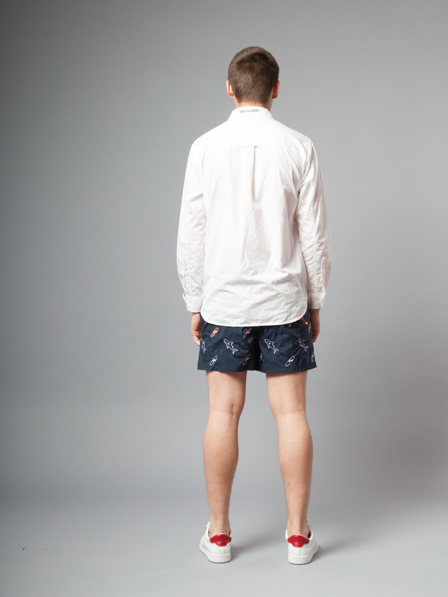 Navy Classic Swim Trunk (Shark & Surfboard Embroidery) 5