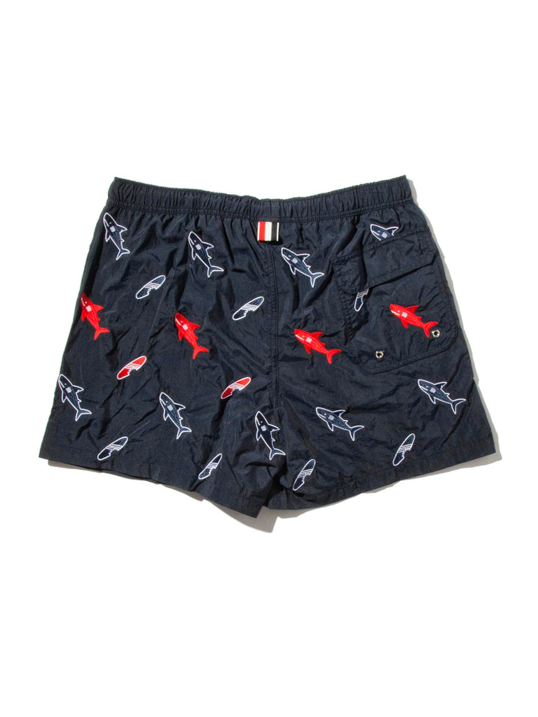 Navy Classic Swim Trunk (Shark & Surfboard Embroidery) 619674088329