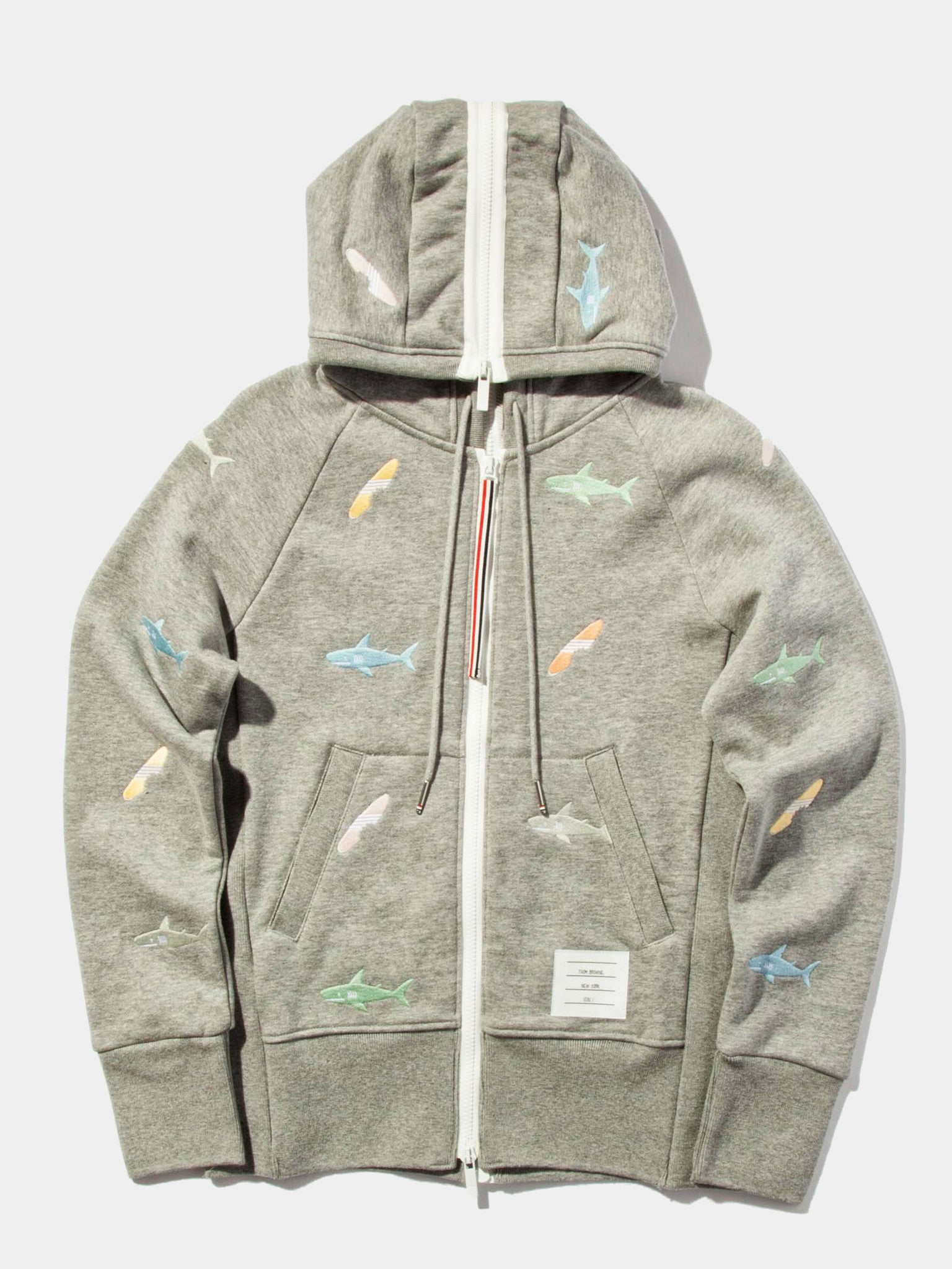 Light Grey Classic Zip Up Hoodie (Aqua Zip Loop Back) 1
