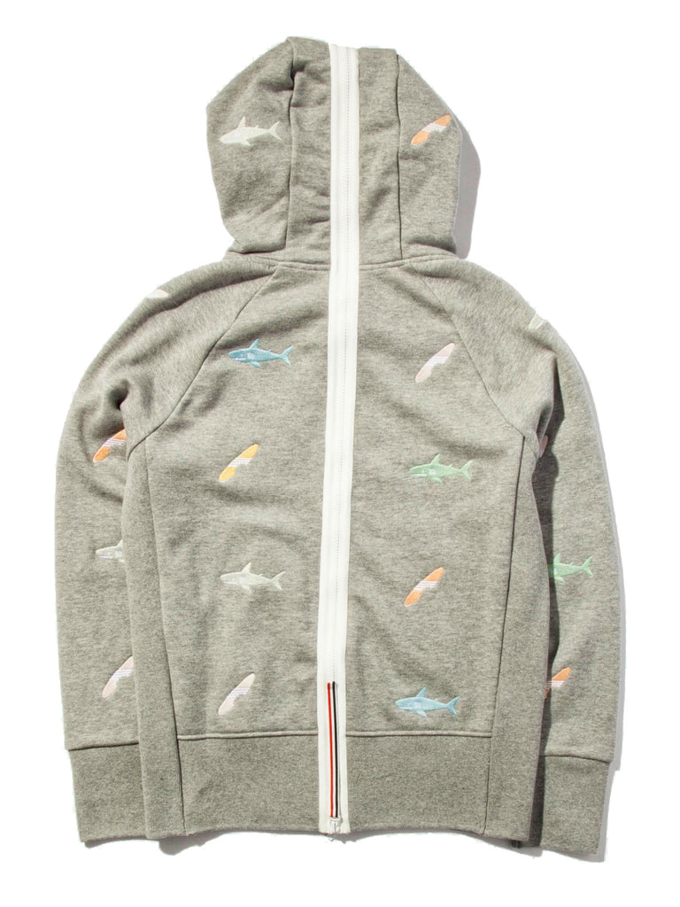 Light Grey Classic Zip Up Hoodie (Aqua Zip Loop Back) 619527516105