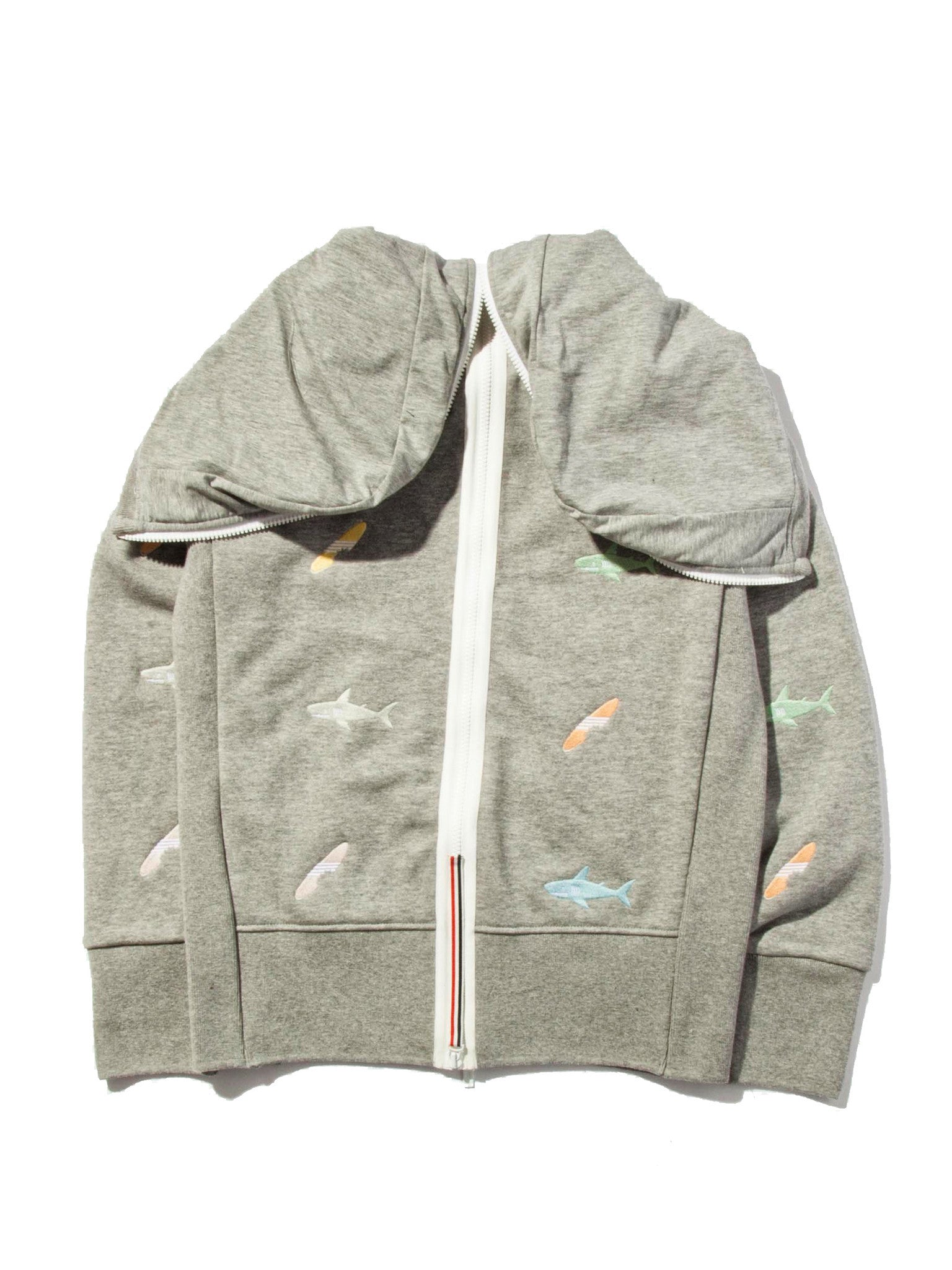Light Grey Classic Zip Up Hoodie (Aqua Zip Loop Back) 8