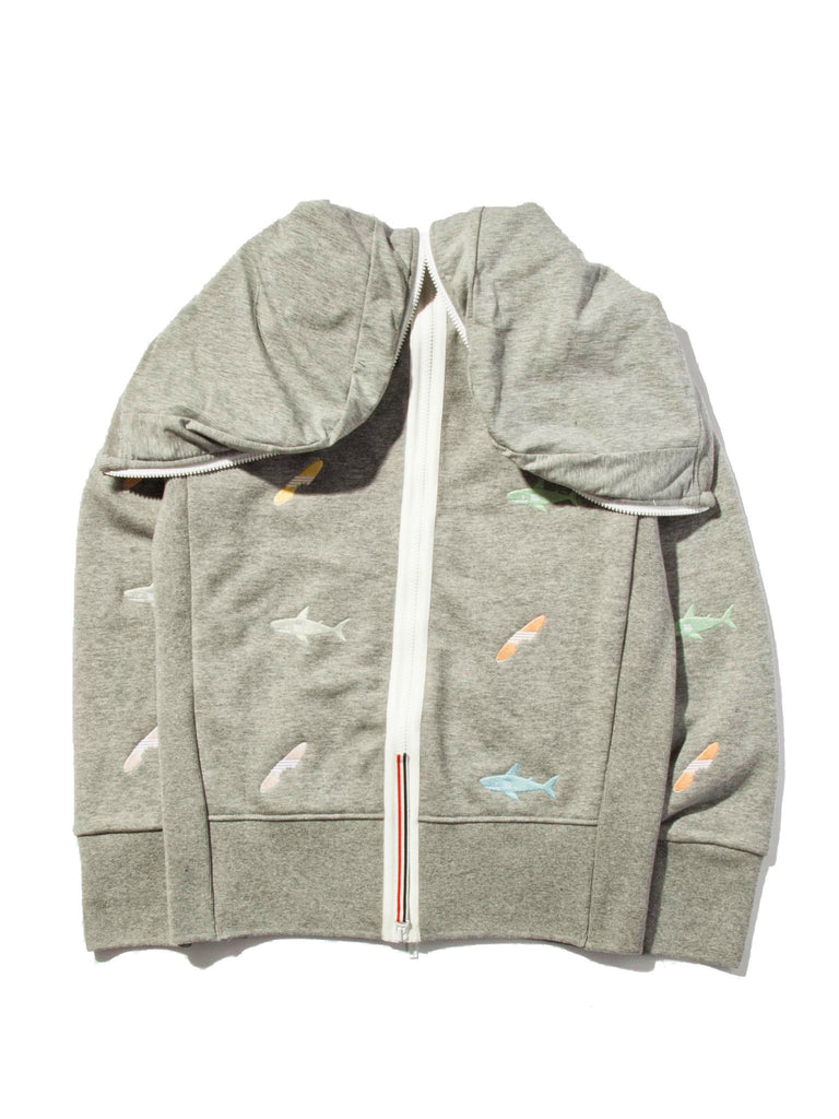Light Grey Classic Zip Up Hoodie (Aqua Zip Loop Back) 819527518217