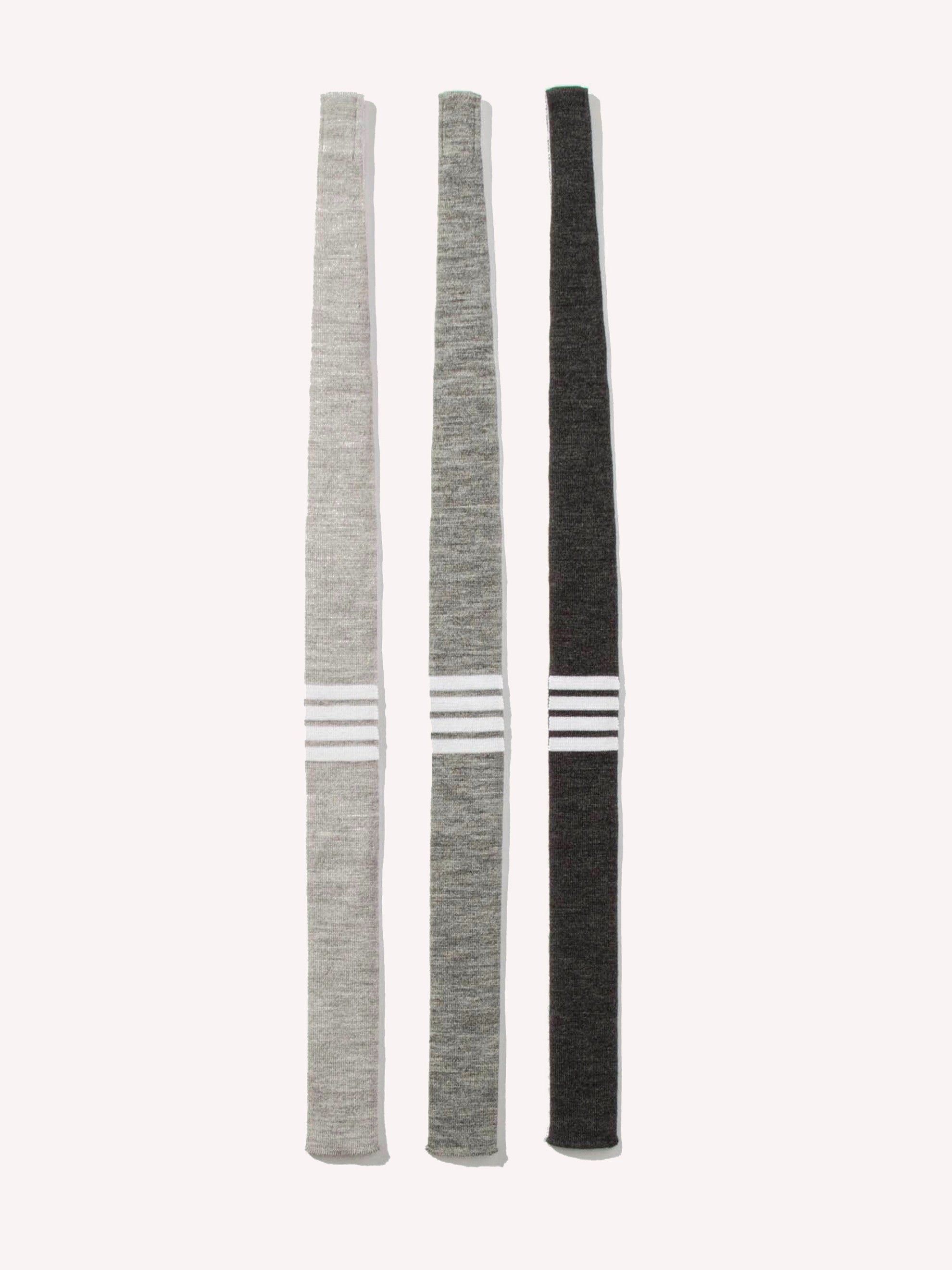 Dark Grey Knit Tie (4 Bar Stripe Wool) 1