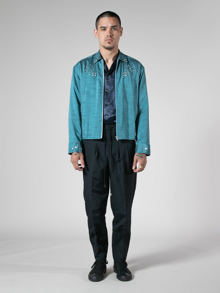 Light Blue Slab Yarn Stretch Blouson 413570938208333