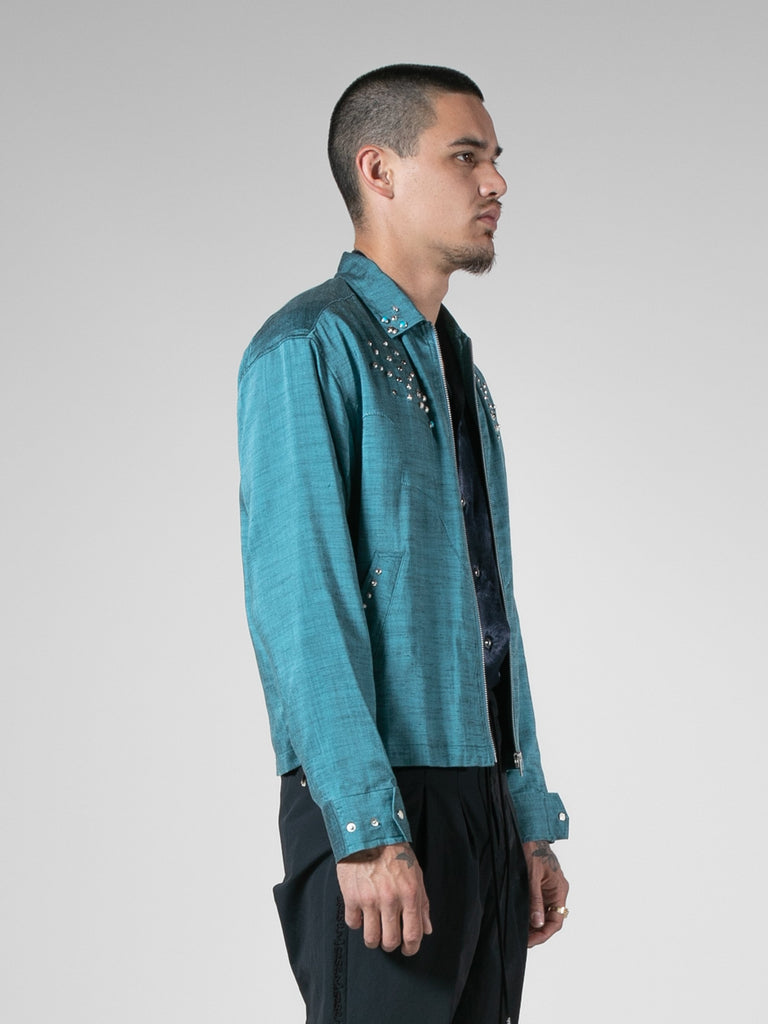 Light Blue Slab Yarn Stretch Blouson 313570938241101