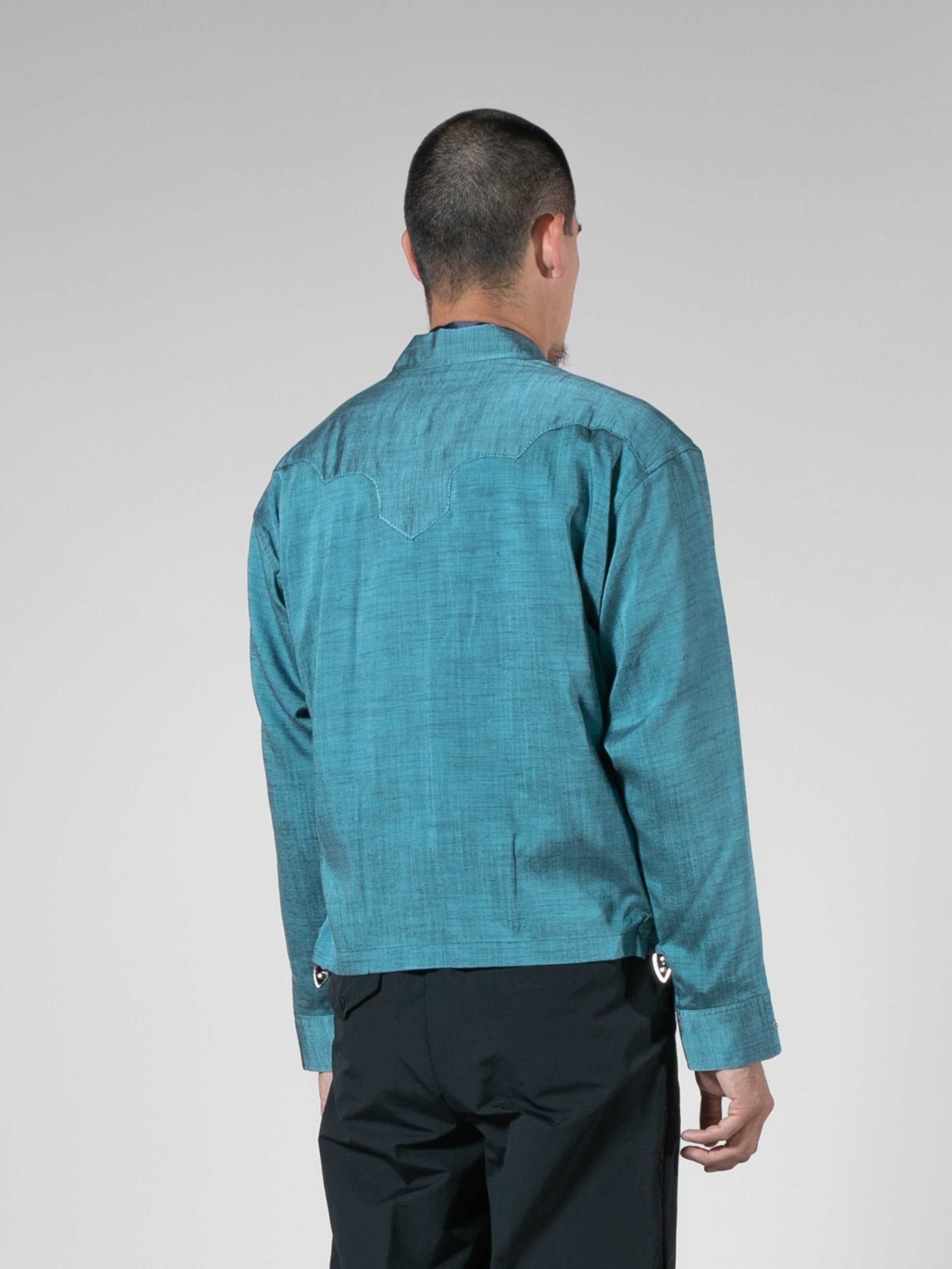 Light Blue Slab Yarn Stretch Blouson 5