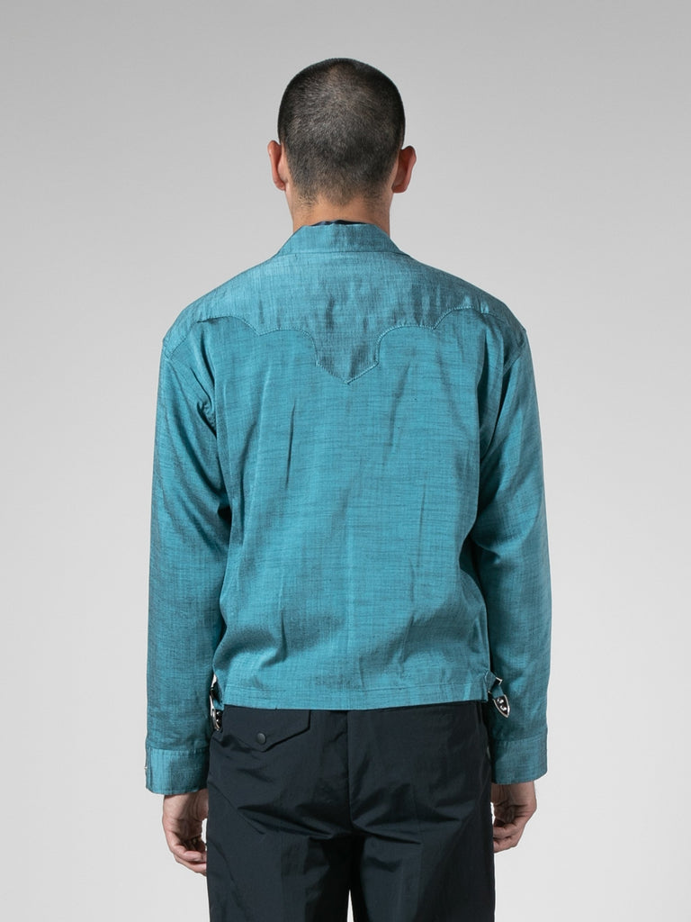 Light Blue Slab Yarn Stretch Blouson 613570938339405