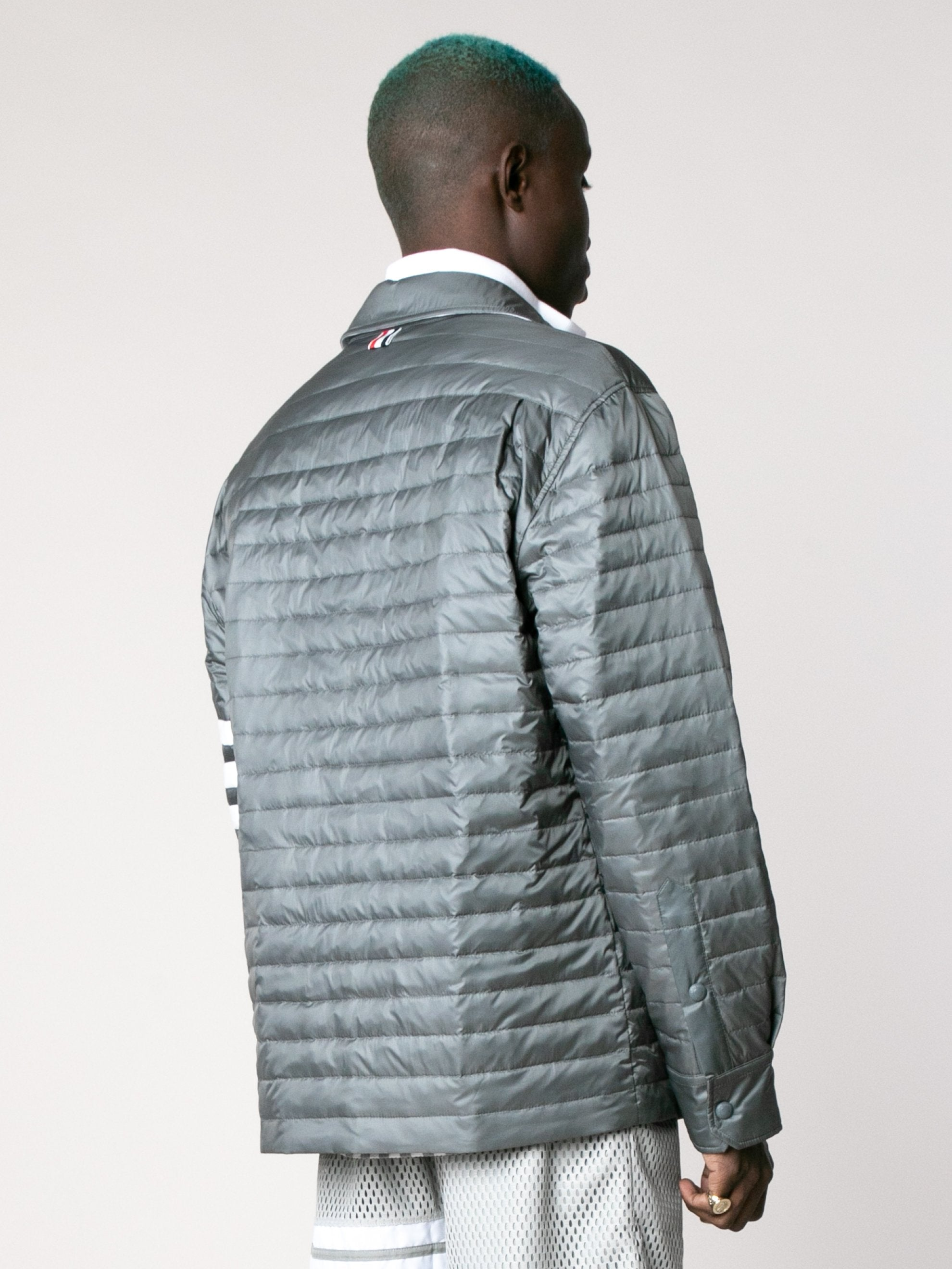 Fine Quilt Down Fill 4 Bar Shirt Jacket In Matte Finish Nylon
