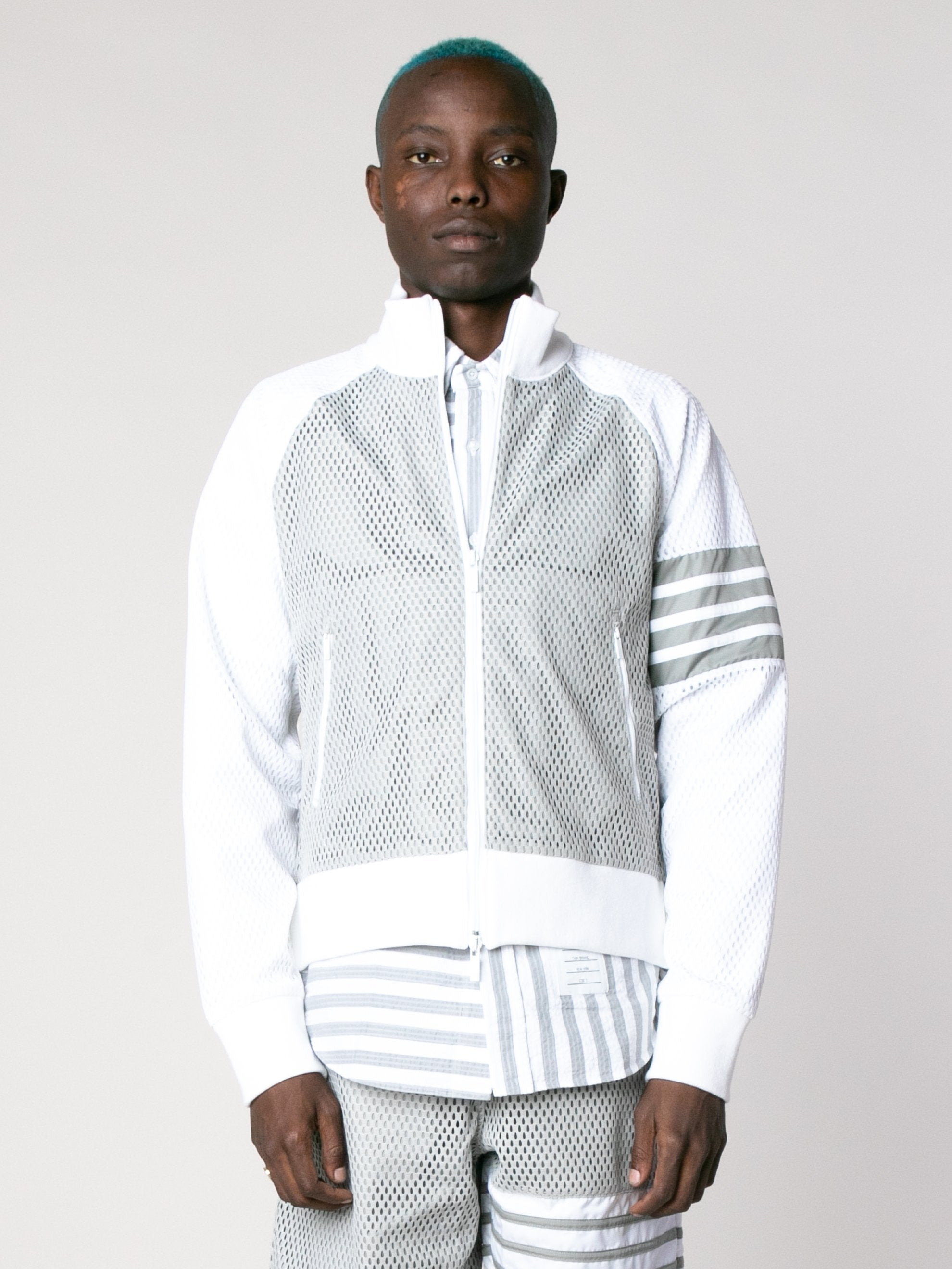 Med Grey Rib Neck Zip Up Track Jacket In Heavy Athletic Mesh 2