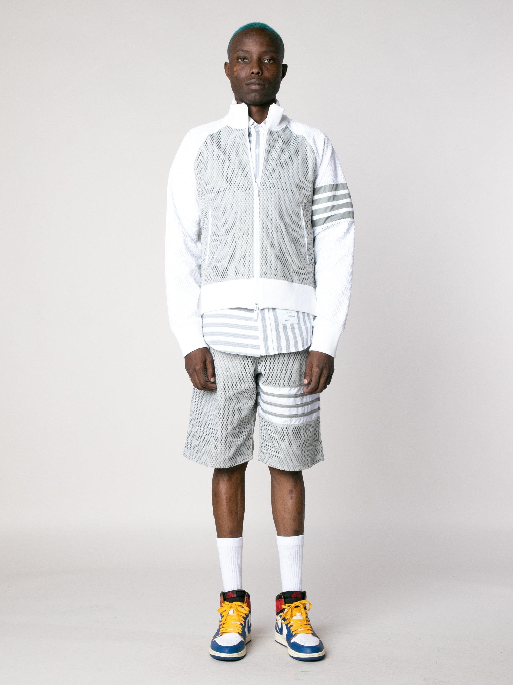 Med Grey Rib Neck Zip Up Track Jacket In Heavy Athletic Mesh 3