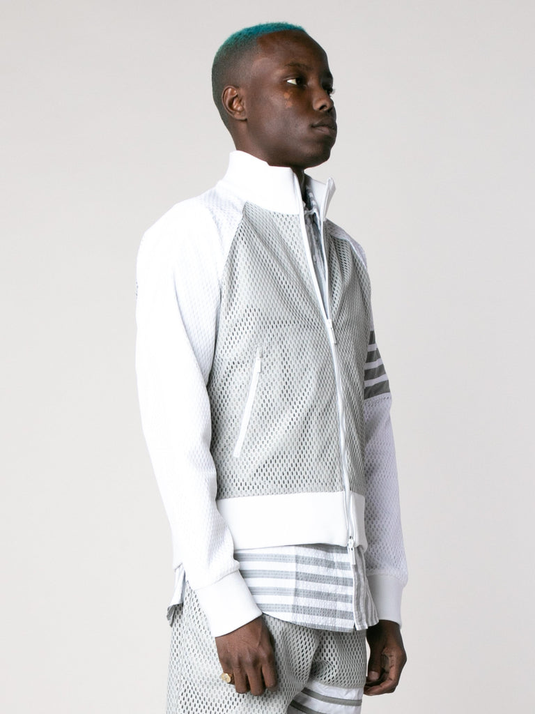Med Grey Rib Neck Zip Up Track Jacket In Heavy Athletic Mesh 415844760354893