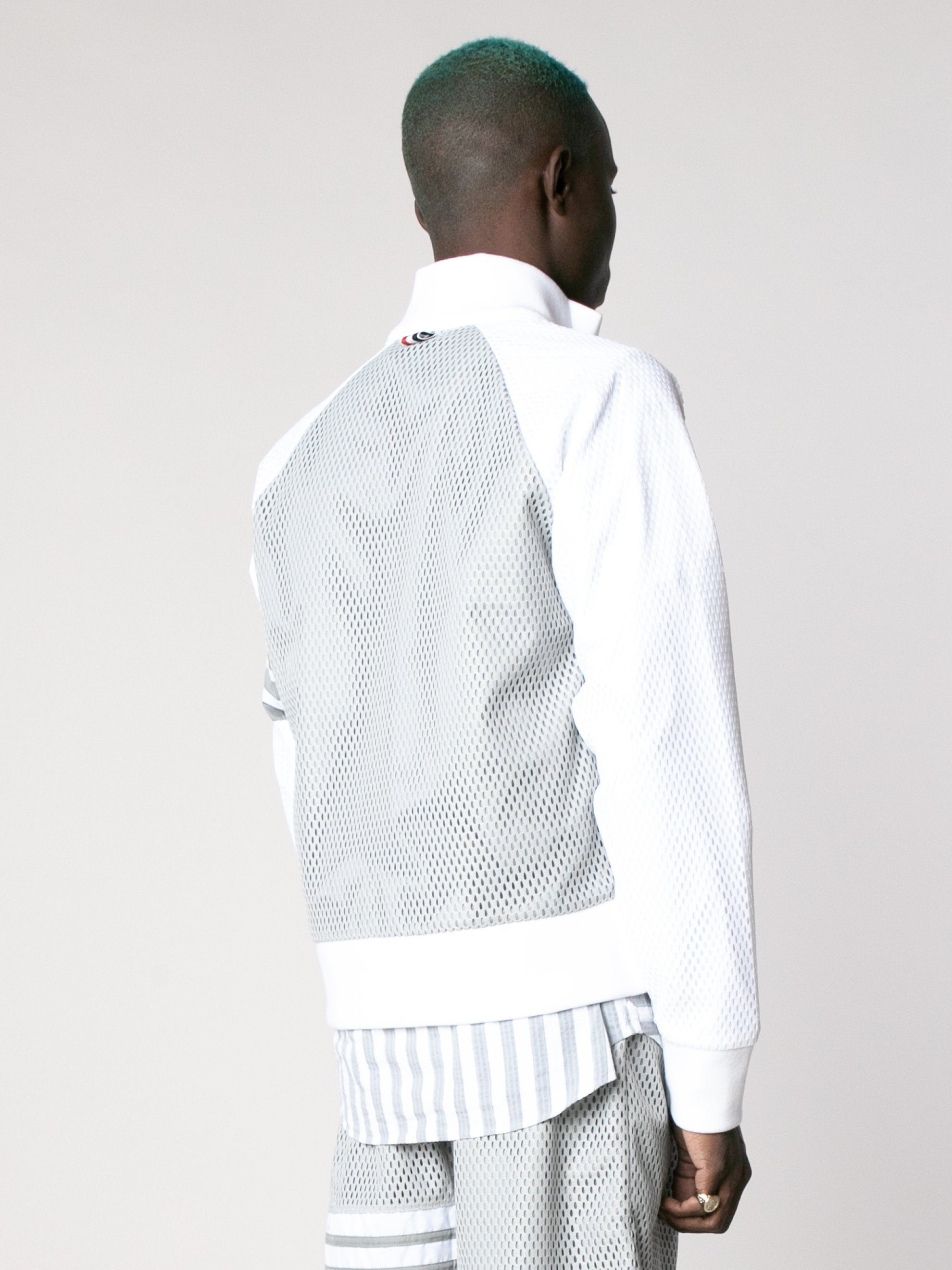 Med Grey Rib Neck Zip Up Track Jacket In Heavy Athletic Mesh 5