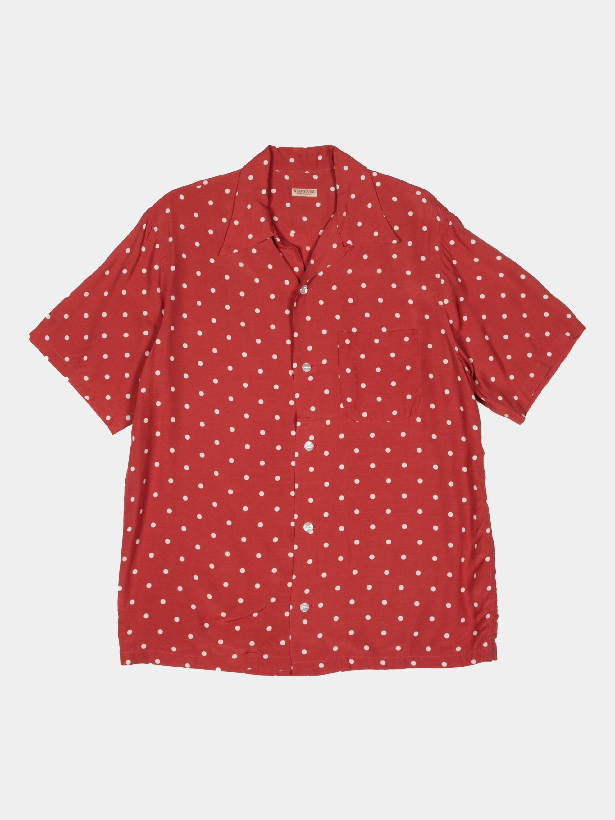 Red Rayon Polka Dot Dye Aloha Shirt 1