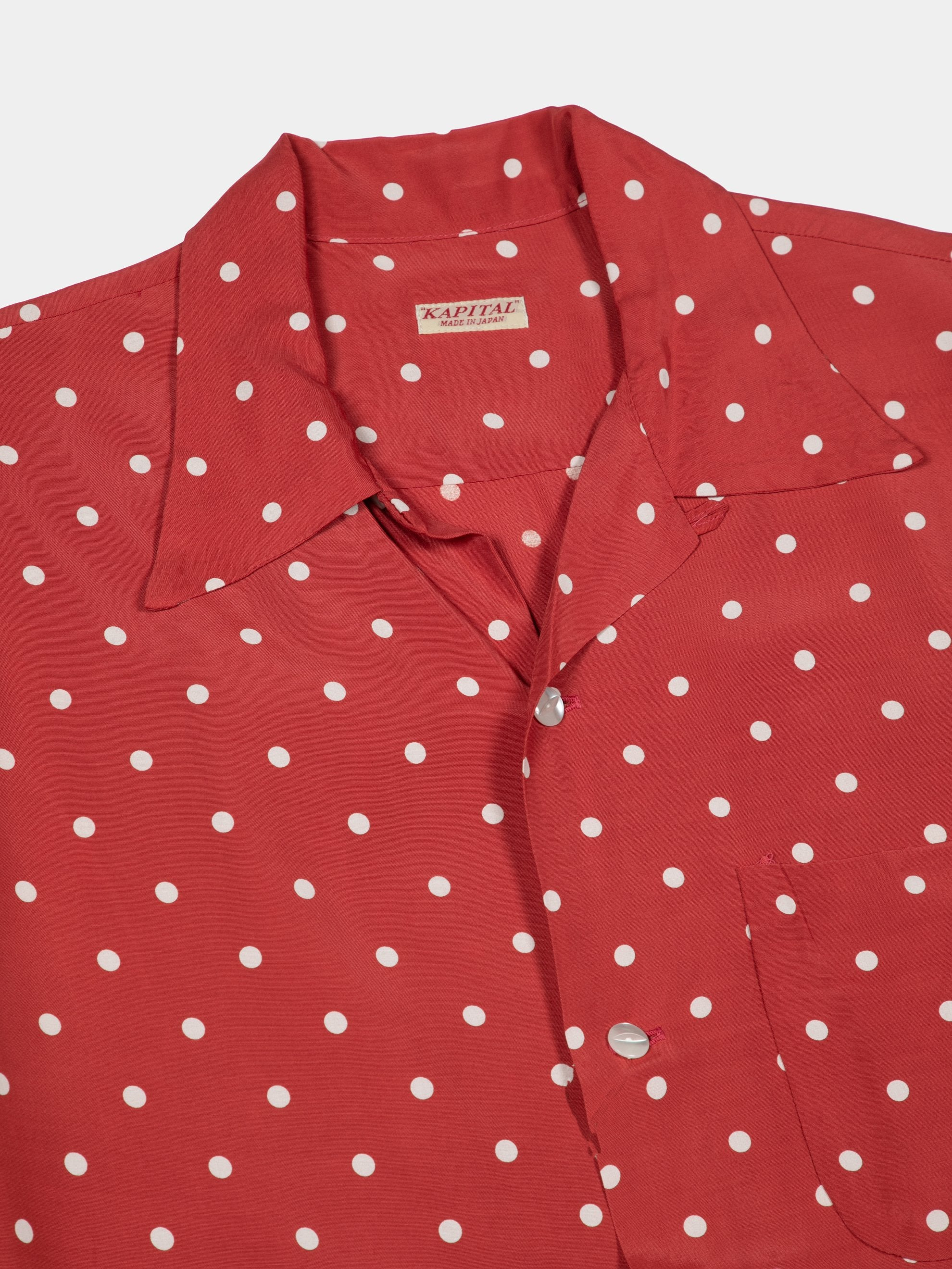 Red Rayon Polka Dot Dye Aloha Shirt 2
