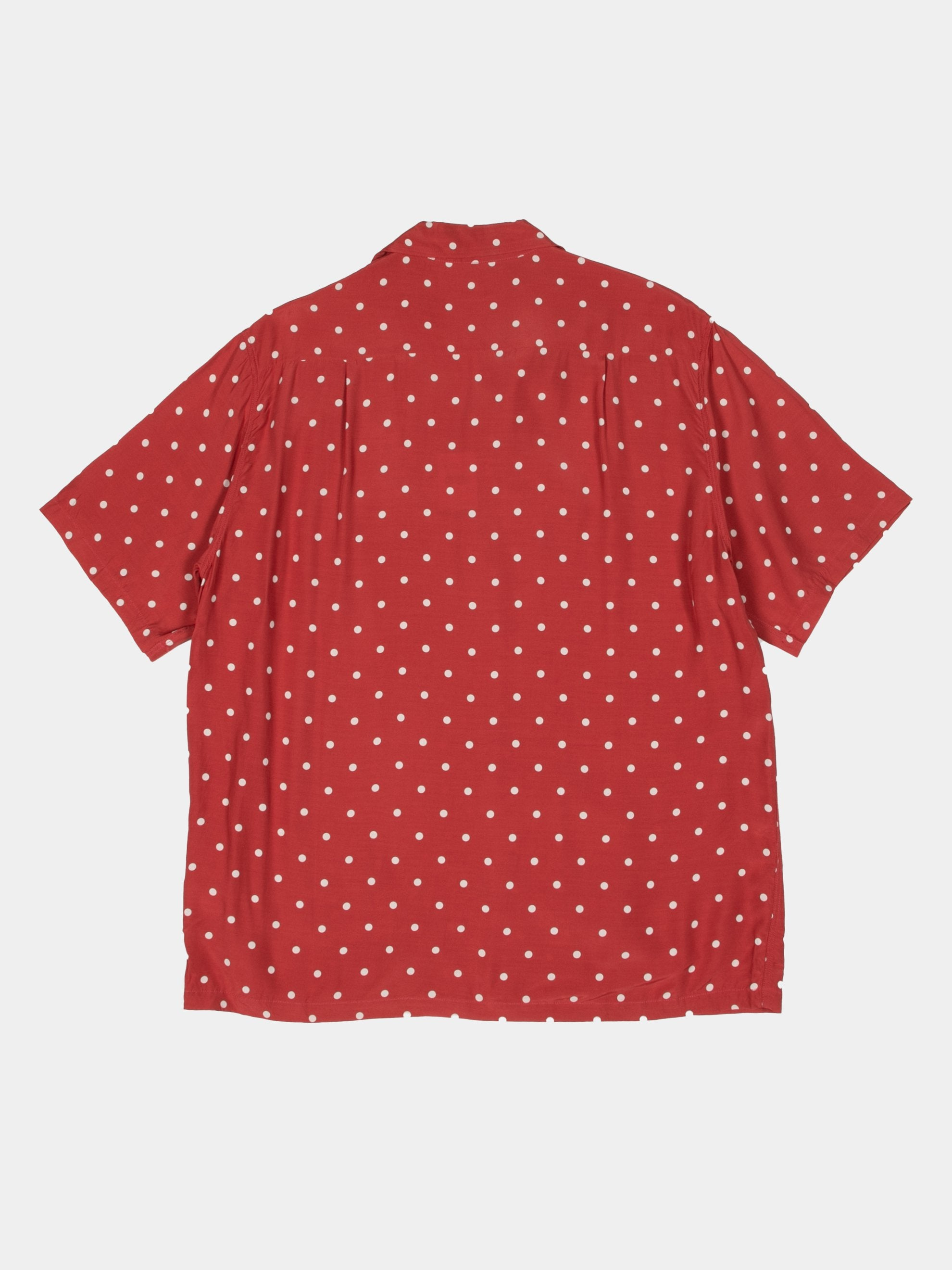 Red Rayon Polka Dot Dye Aloha Shirt 3
