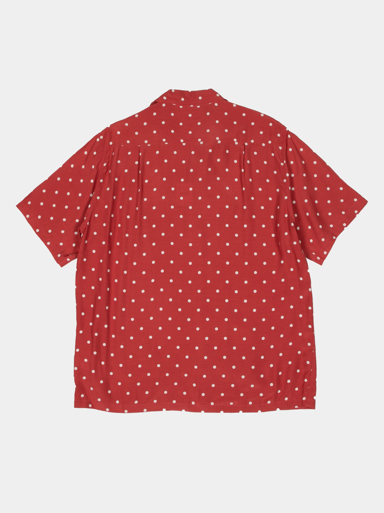 Red Rayon Polka Dot Dye Aloha Shirt 315850348216397