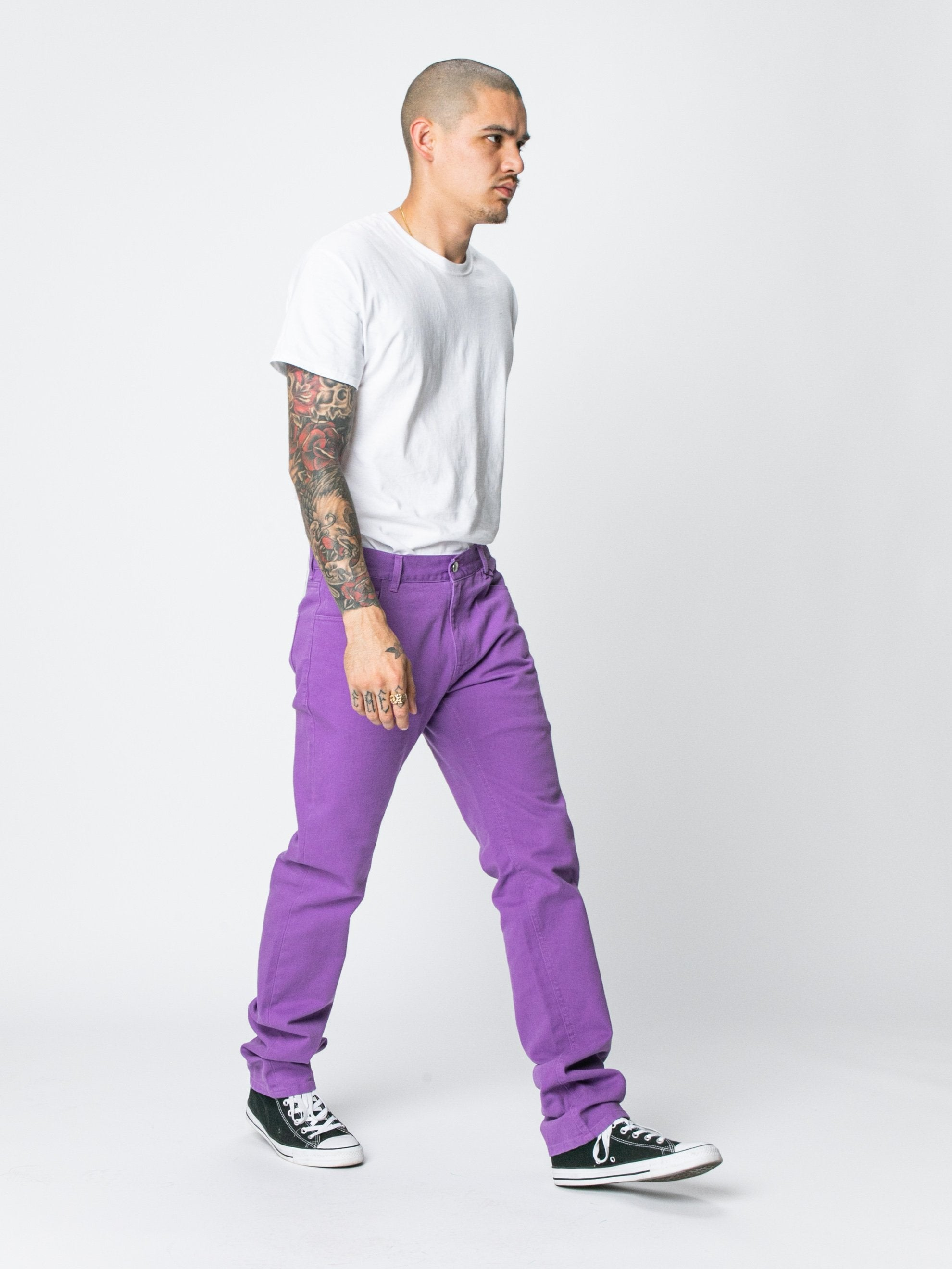 Slim Fit Denim Pants With Labe