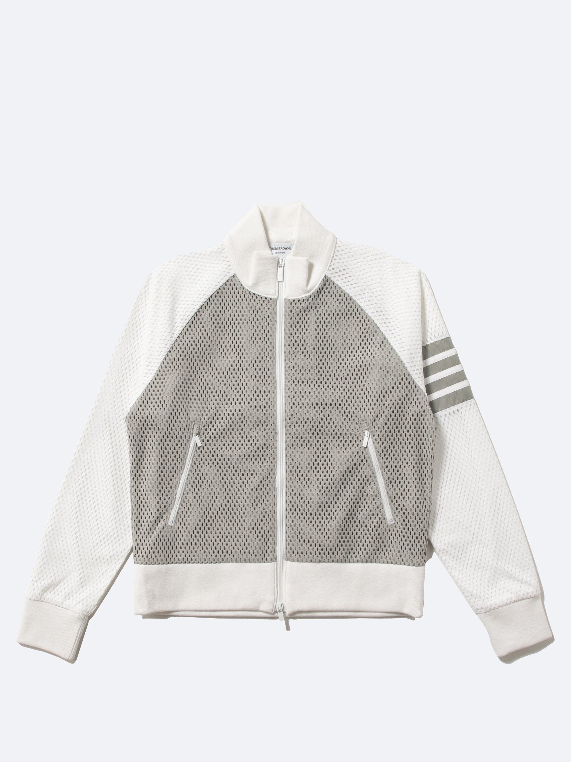 Med Grey Rib Neck Zip Up Track Jacket In Heavy Athletic Mesh 1