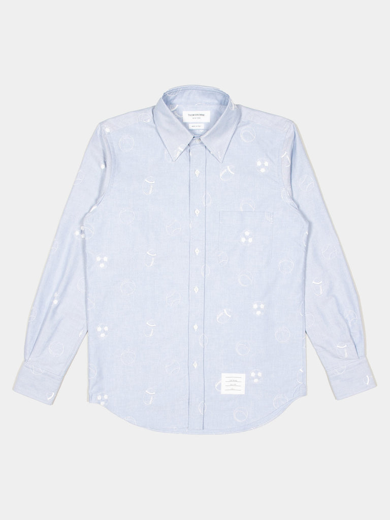 Straight Fit Button Down L/S Shirt In Multi Ball Embroidery