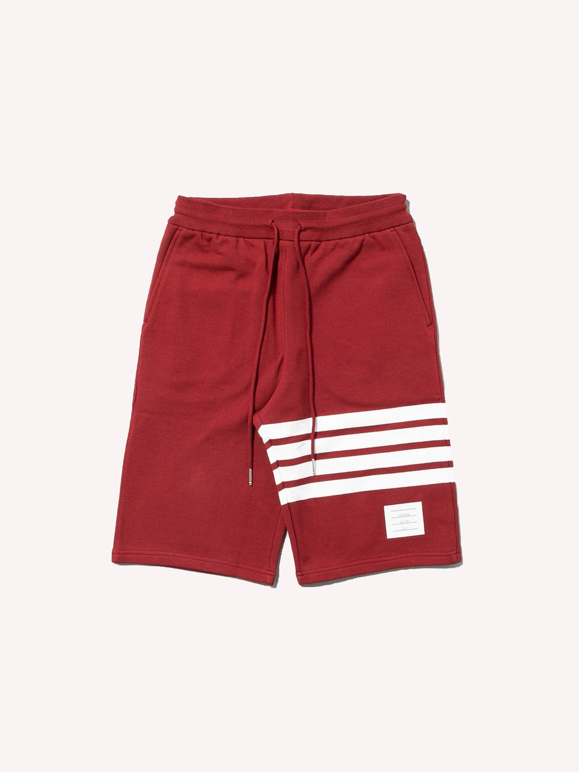 Med Red Classic Sweat Shorts With Engineered 4 Bar Stripes 1