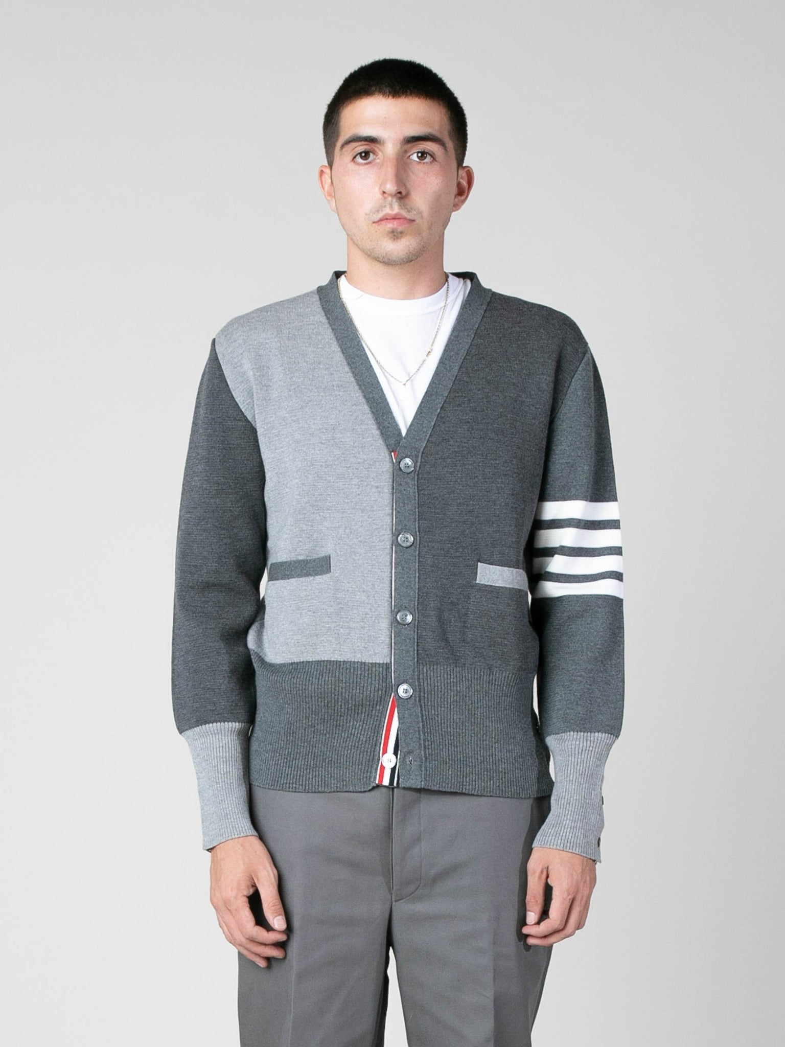 tonal-grey-fun-mix-milano-stitch-v-neck-cardigan