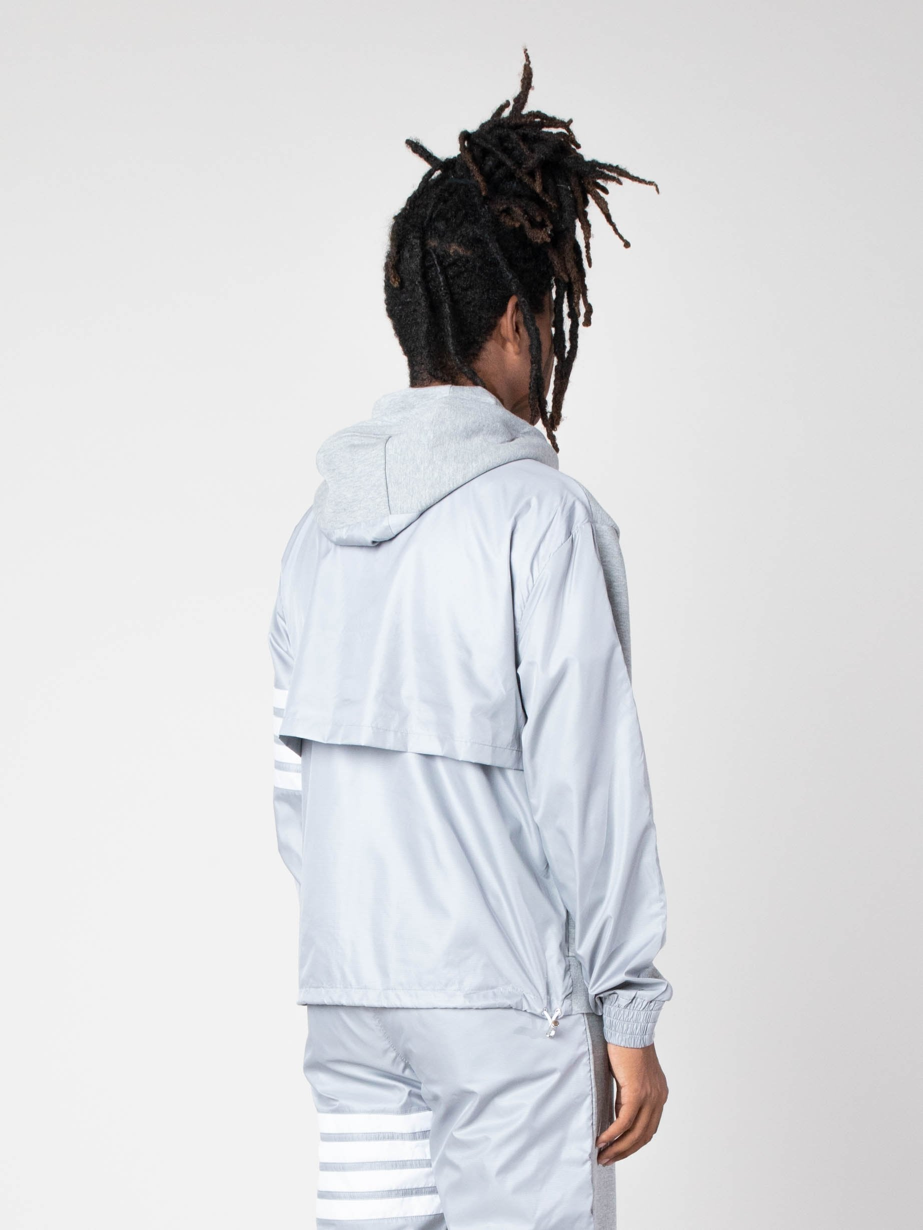 Light Grey Half And Half Zip Up Hoodie In Ripstop & Classic Loopback Jersey W/ 4 Bar Stripe 5