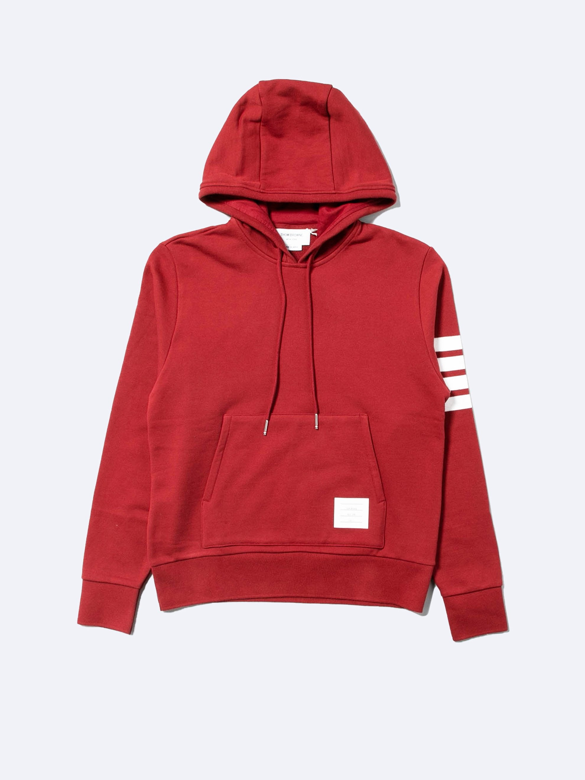 Med Red Hoodie Pullover In Classic Loop Back w/ Engineered 4 Bar 1