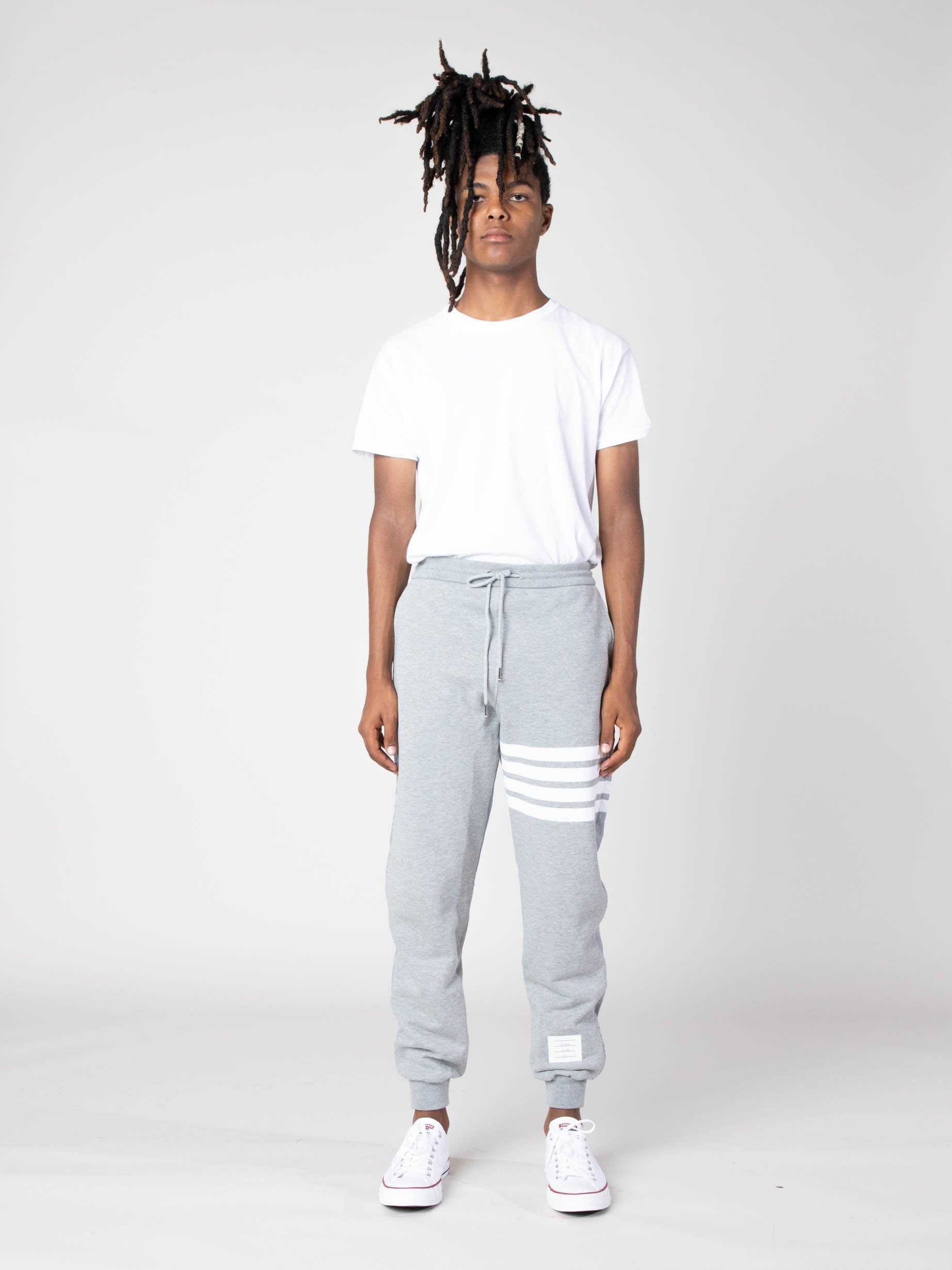 Light Grey Half And Half Sweatpants In Ripstop & Classic Loopback Jersey With 4 Bar Stripe 4