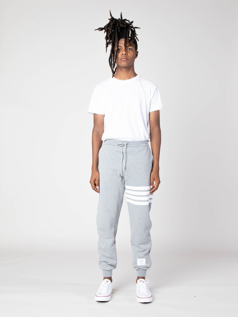 Light Grey Half And Half Sweatpants In Ripstop & Classic Loopback Jersey With 4 Bar Stripe 413570493218893