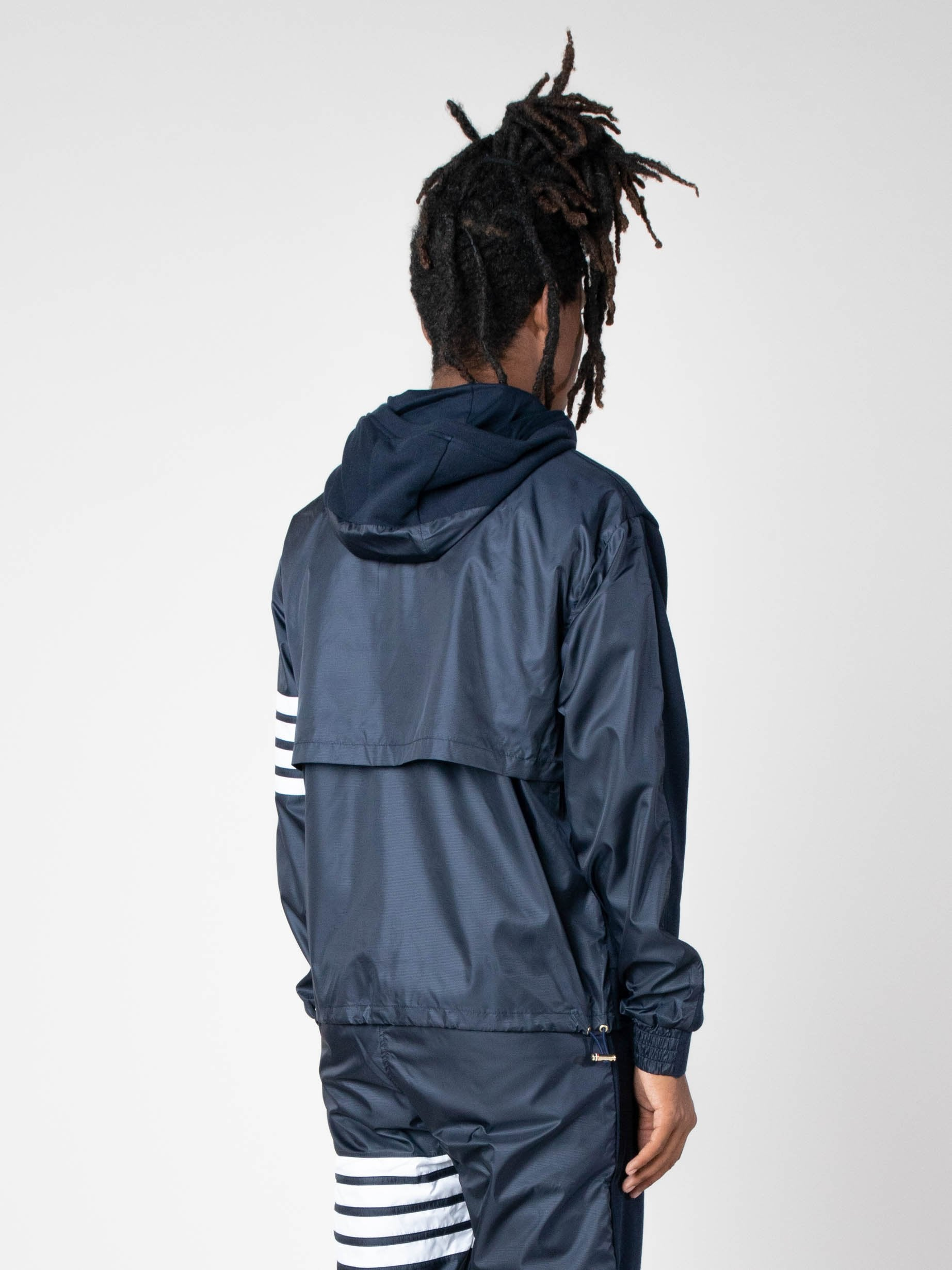 Navy Half And Half Zip Up Hoodie In Ripstop & Classic Loopback Jersey W/ 4 Bar Stripe 5