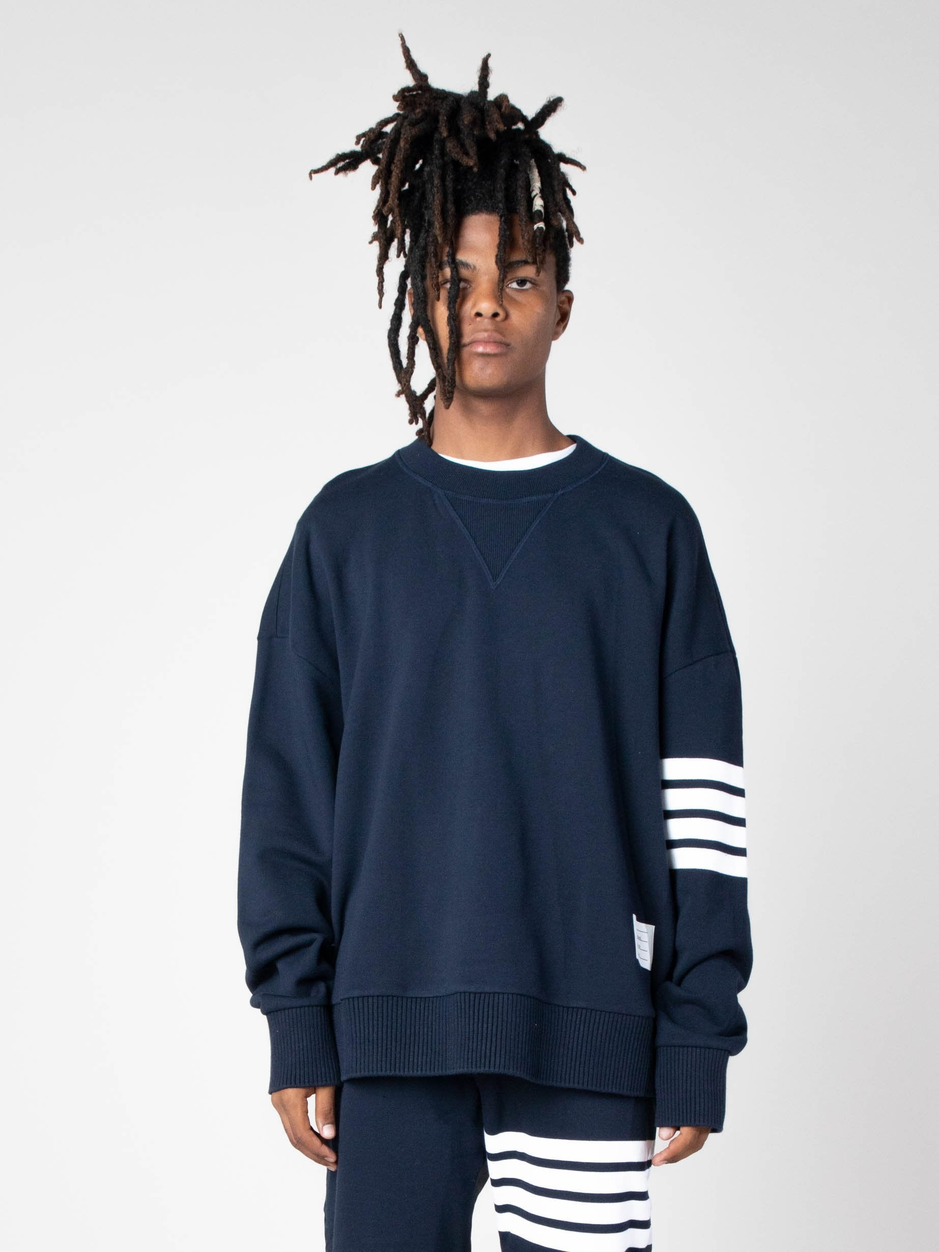 Navy Oversized Classic Crew Neck Sweatshirt In Classic Loop Back W/ Engineered 4 Bar 2