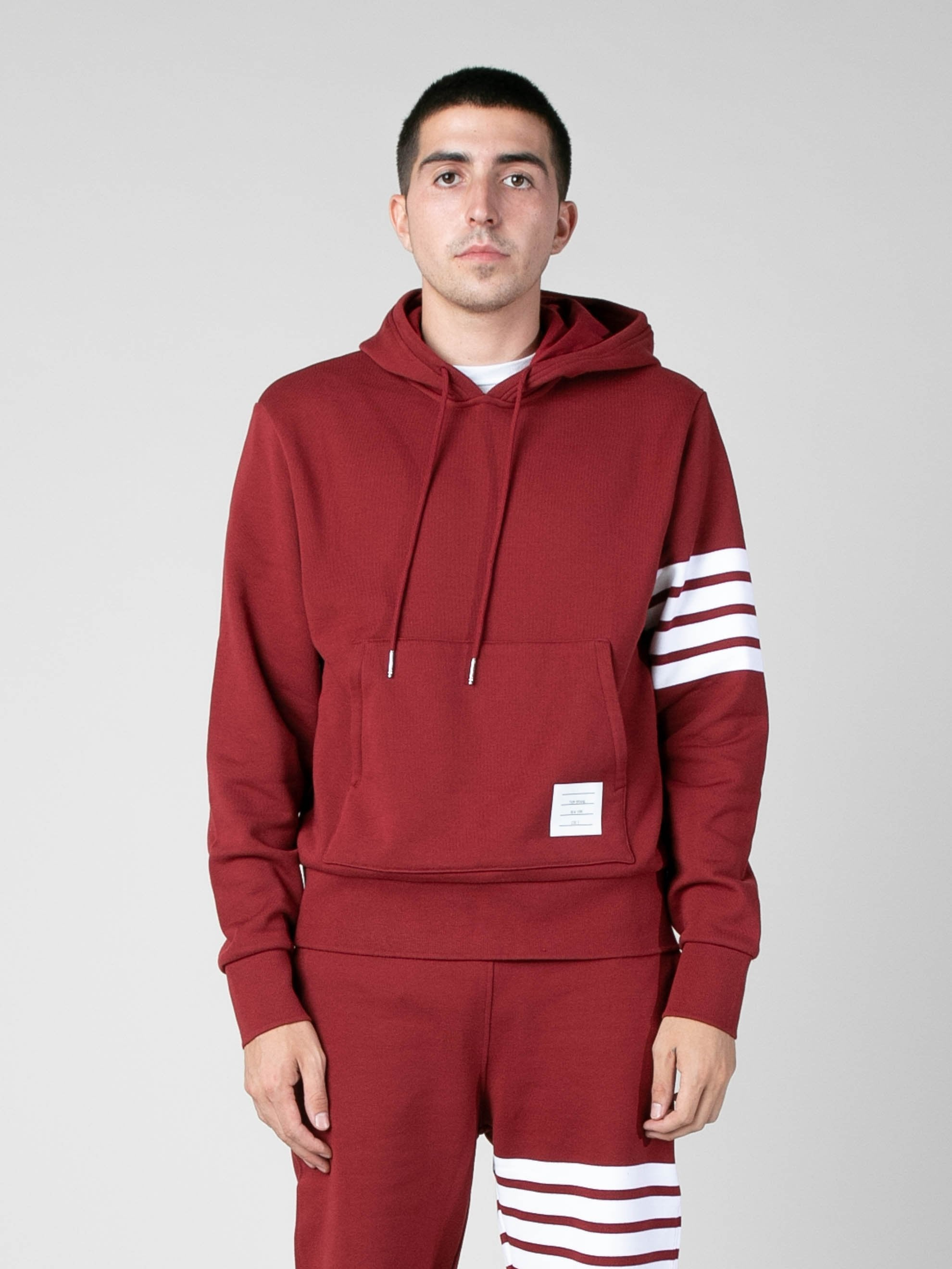 Med Red Hoodie Pullover In Classic Loop Back w/ Engineered 4 Bar 2