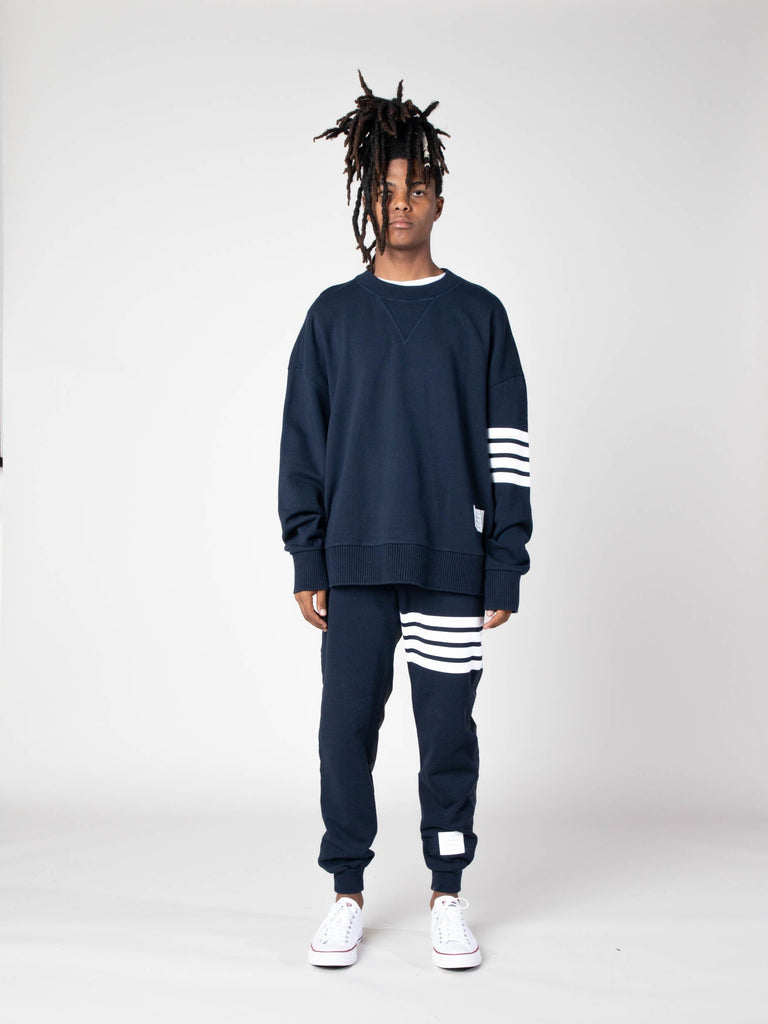 Navy Oversized Classic Crew Neck Sweatshirt In Classic Loop Back W/ Engineered 4 Bar 313570490531917