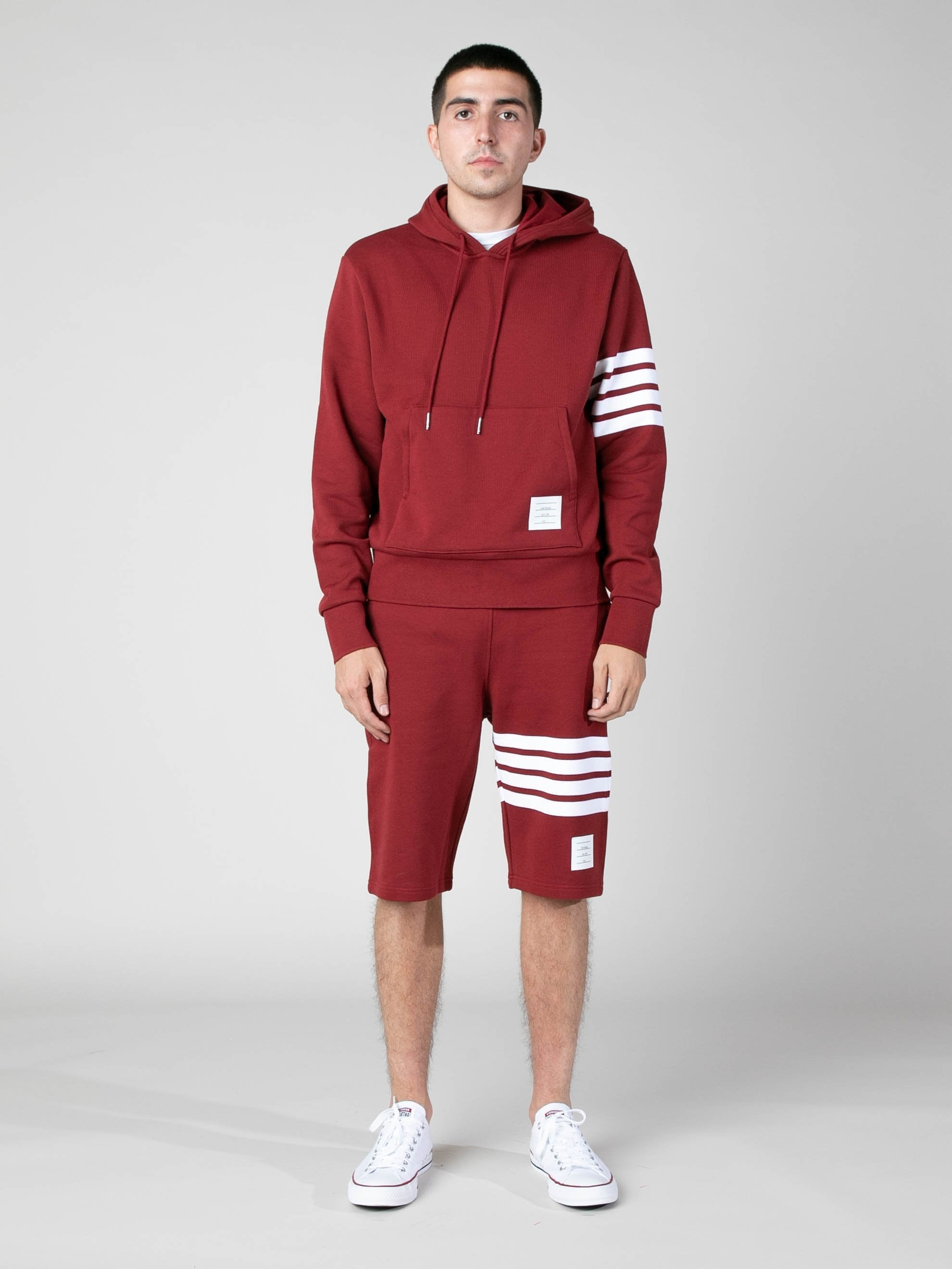 Med Red Hoodie Pullover In Classic Loop Back w/ Engineered 4 Bar 3
