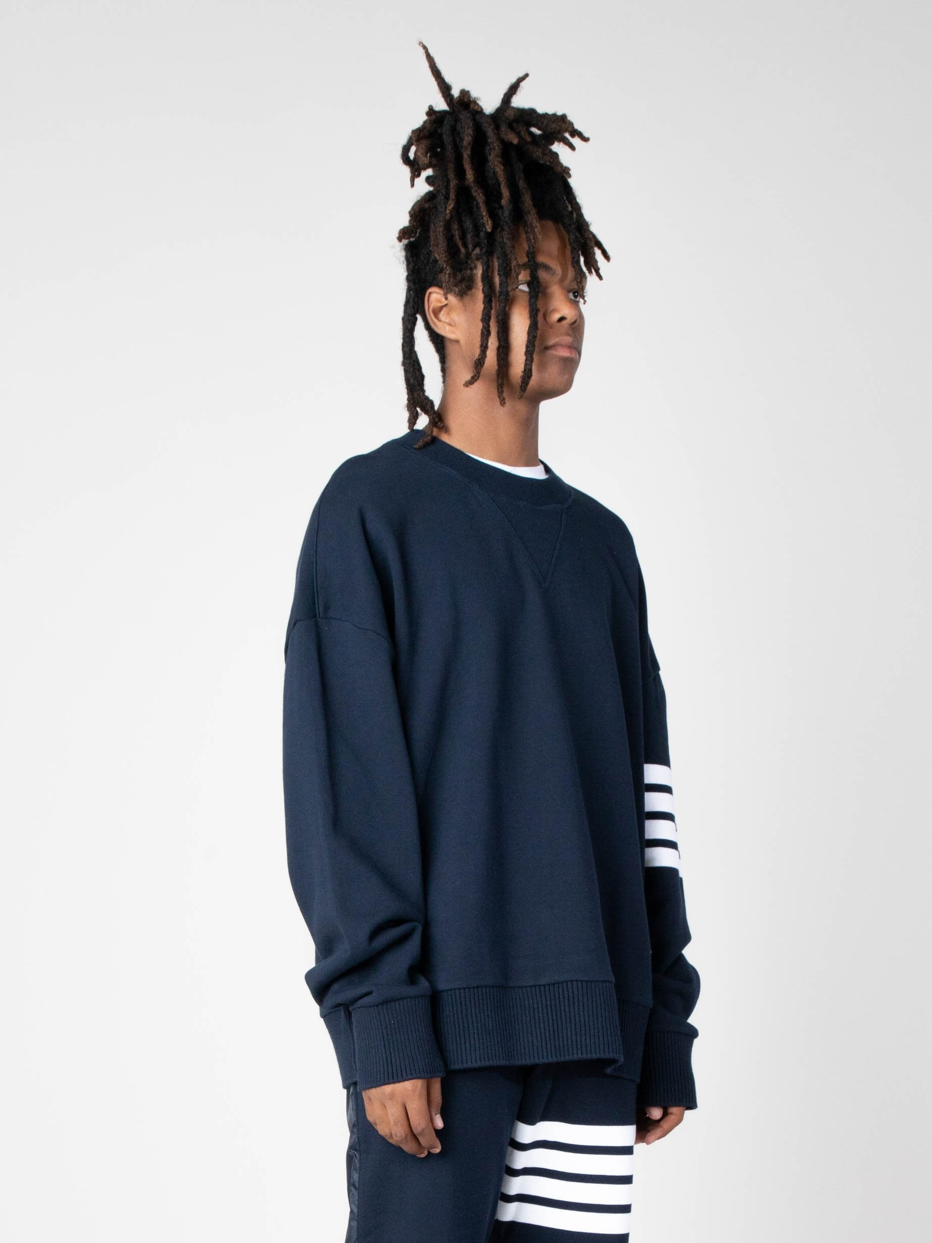 Navy Oversized Classic Crew Neck Sweatshirt In Classic Loop Back W/ Engineered 4 Bar 4