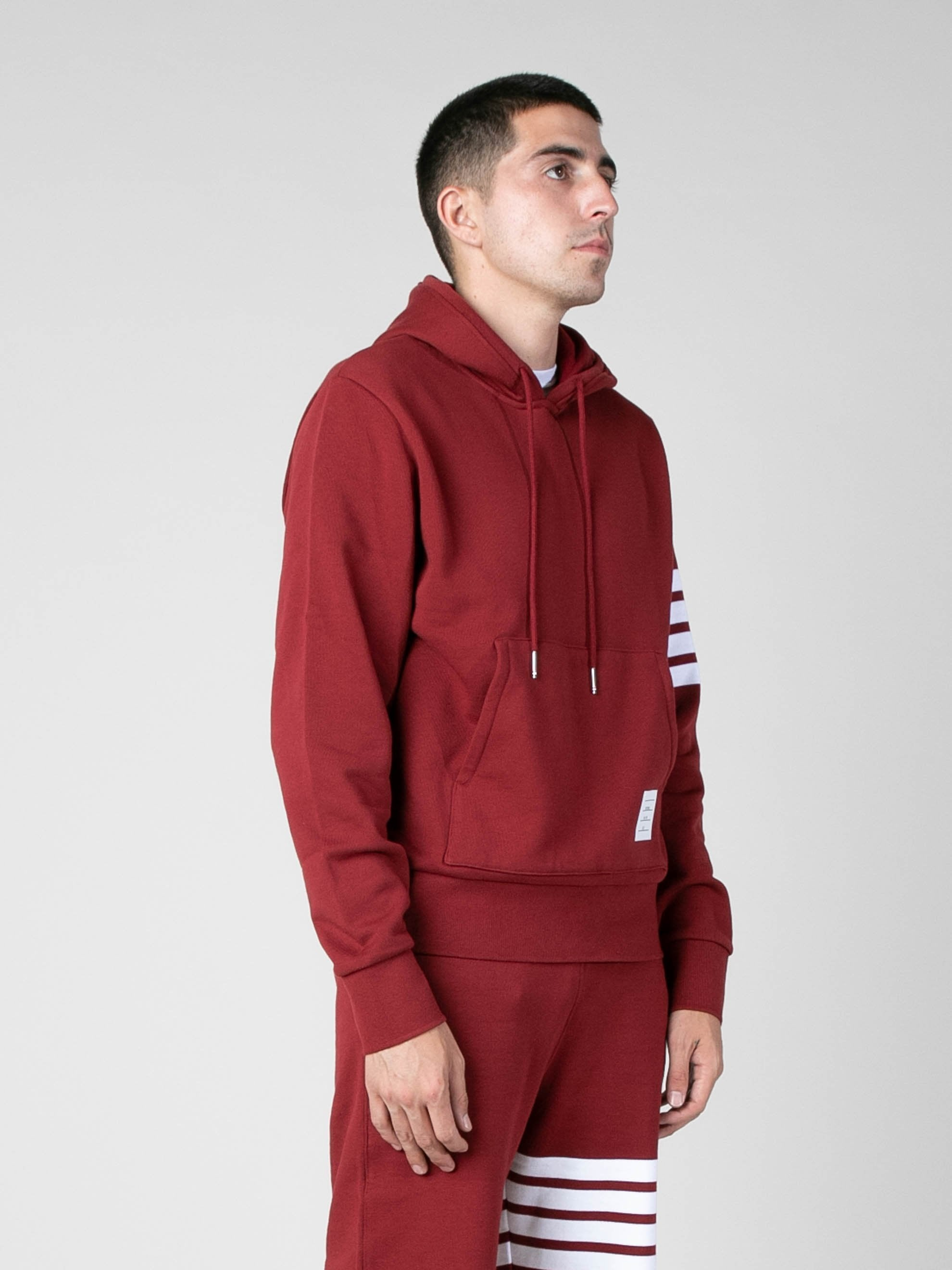 Med Red Hoodie Pullover In Classic Loop Back w/ Engineered 4 Bar 4