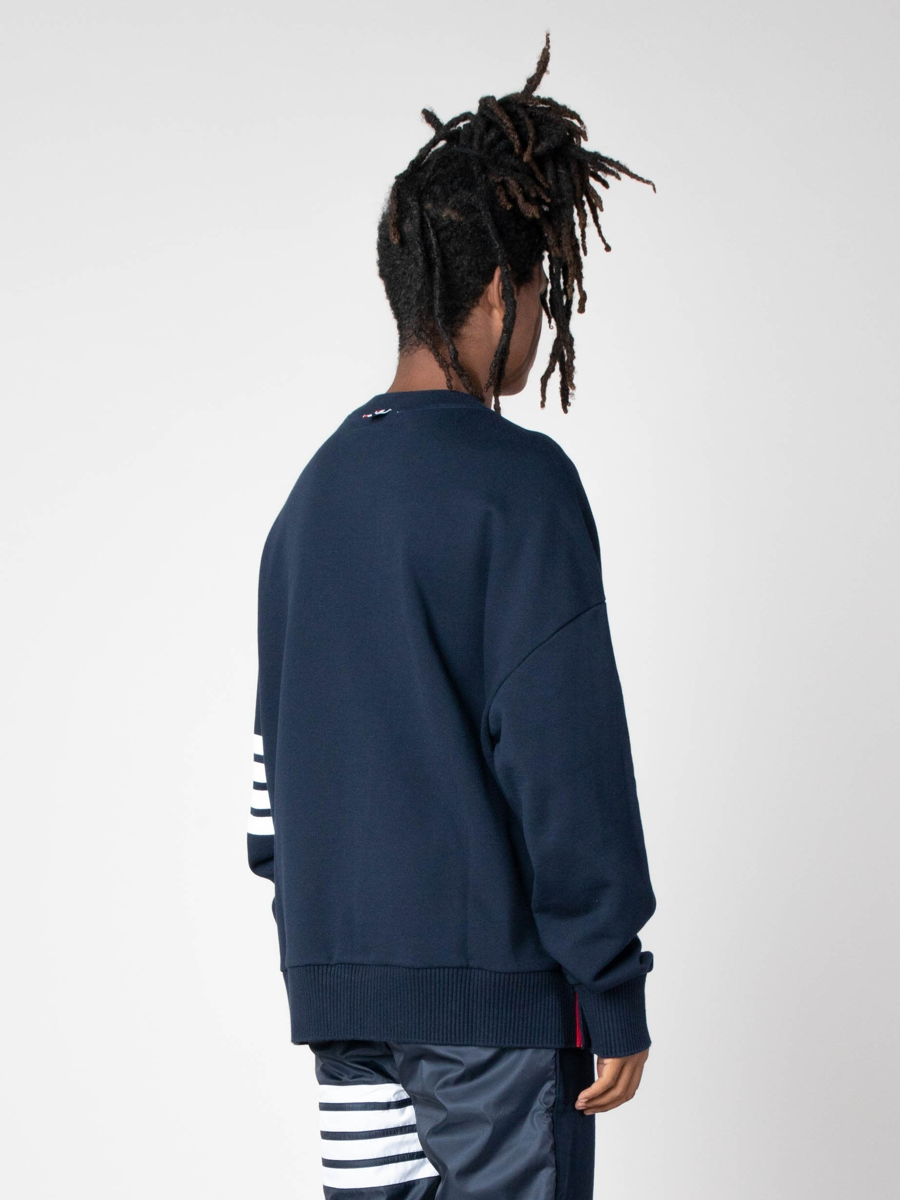 Navy Oversized Classic Crew Neck Sweatshirt In Classic Loop Back W/ Engineered 4 Bar 5