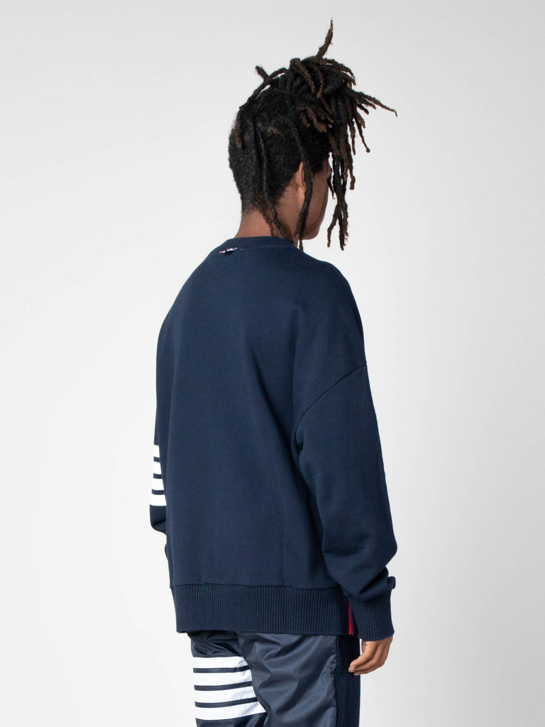 Navy Oversized Classic Crew Neck Sweatshirt In Classic Loop Back W/ Engineered 4 Bar 513570490597453