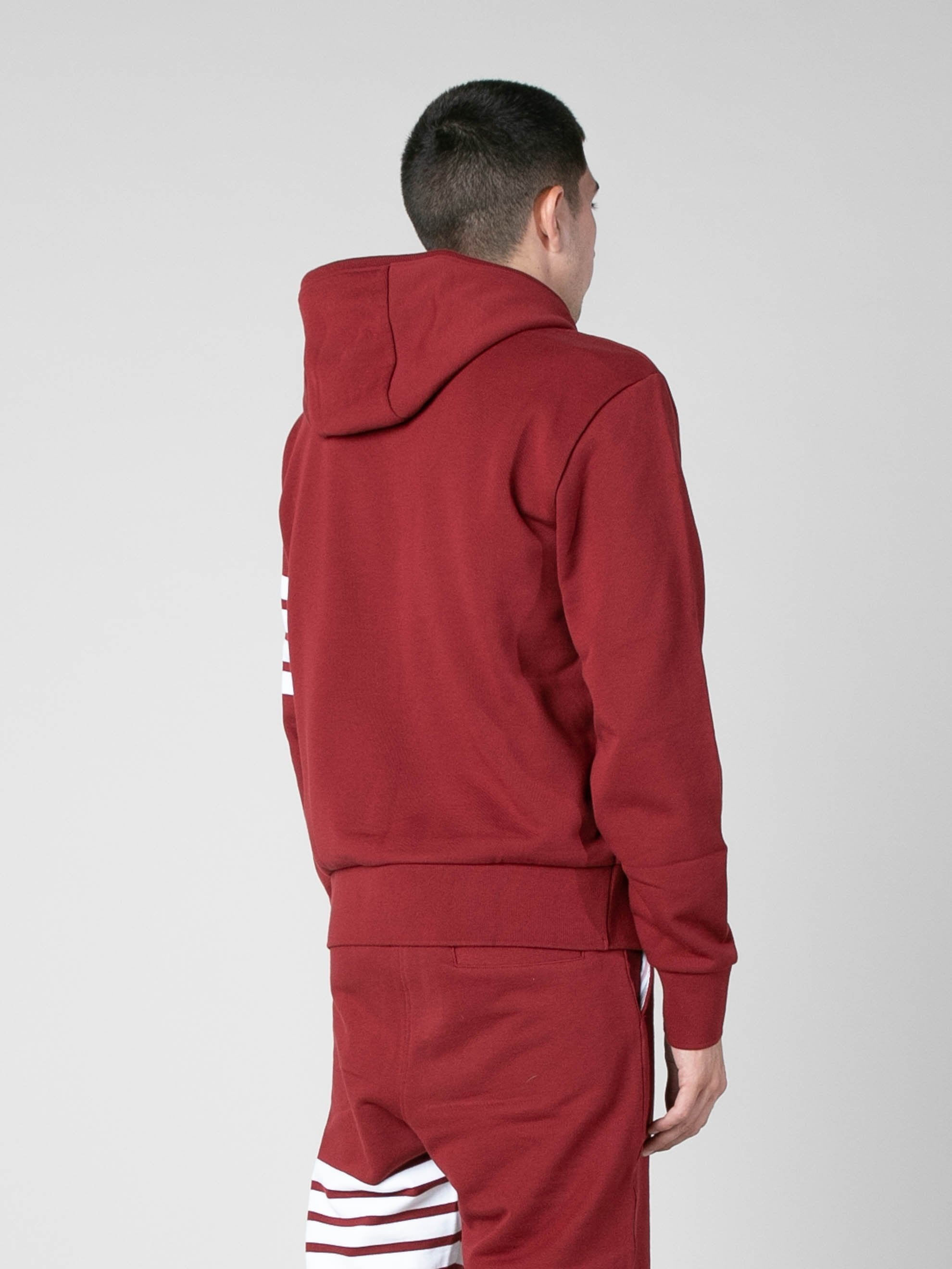 Med Red Hoodie Pullover In Classic Loop Back w/ Engineered 4 Bar 5