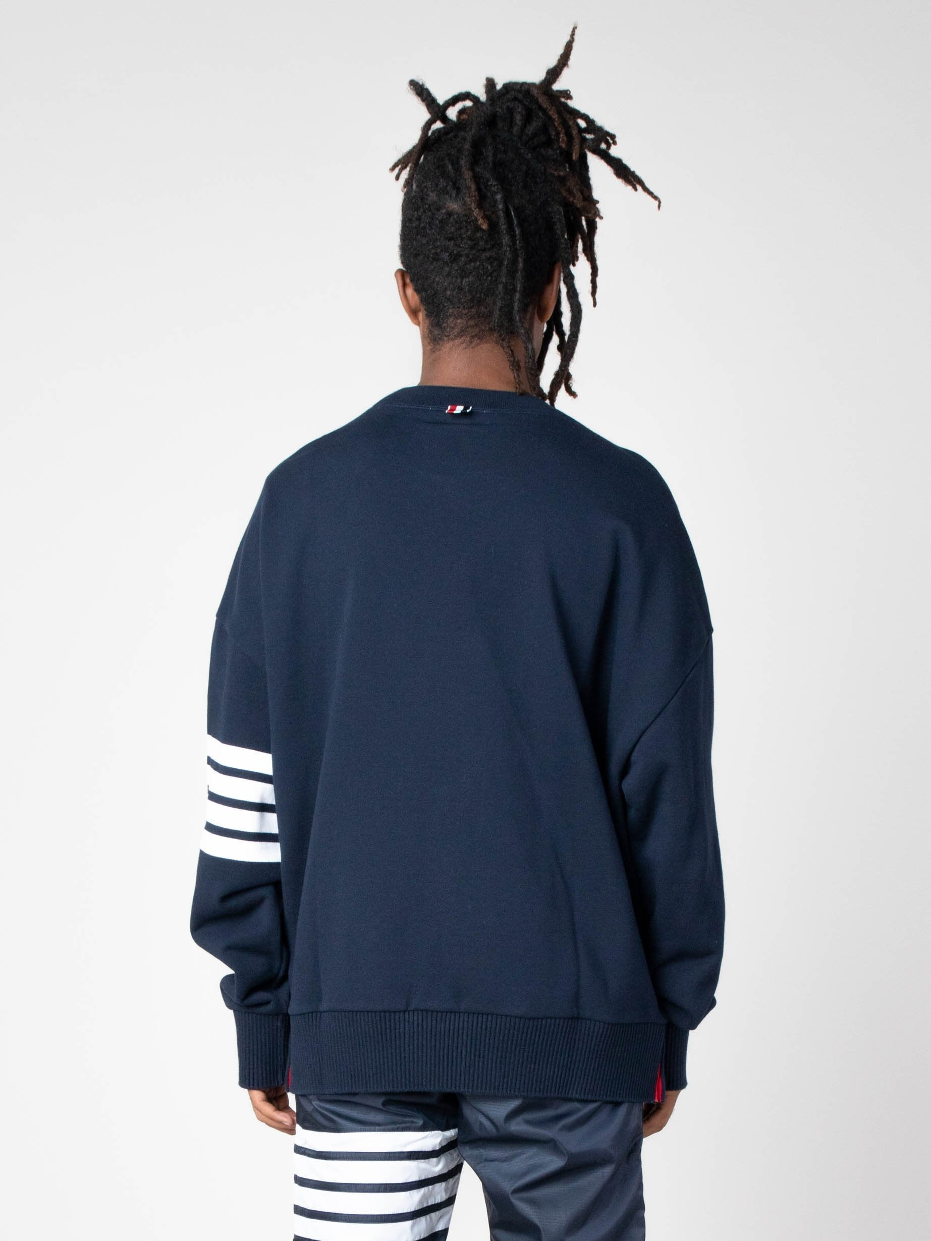 Navy Oversized Classic Crew Neck Sweatshirt In Classic Loop Back W/ Engineered 4 Bar 6