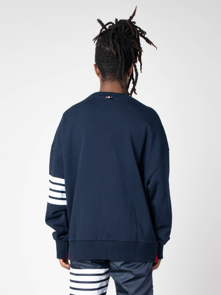 Navy Oversized Classic Crew Neck Sweatshirt In Classic Loop Back W/ Engineered 4 Bar 613570490630221