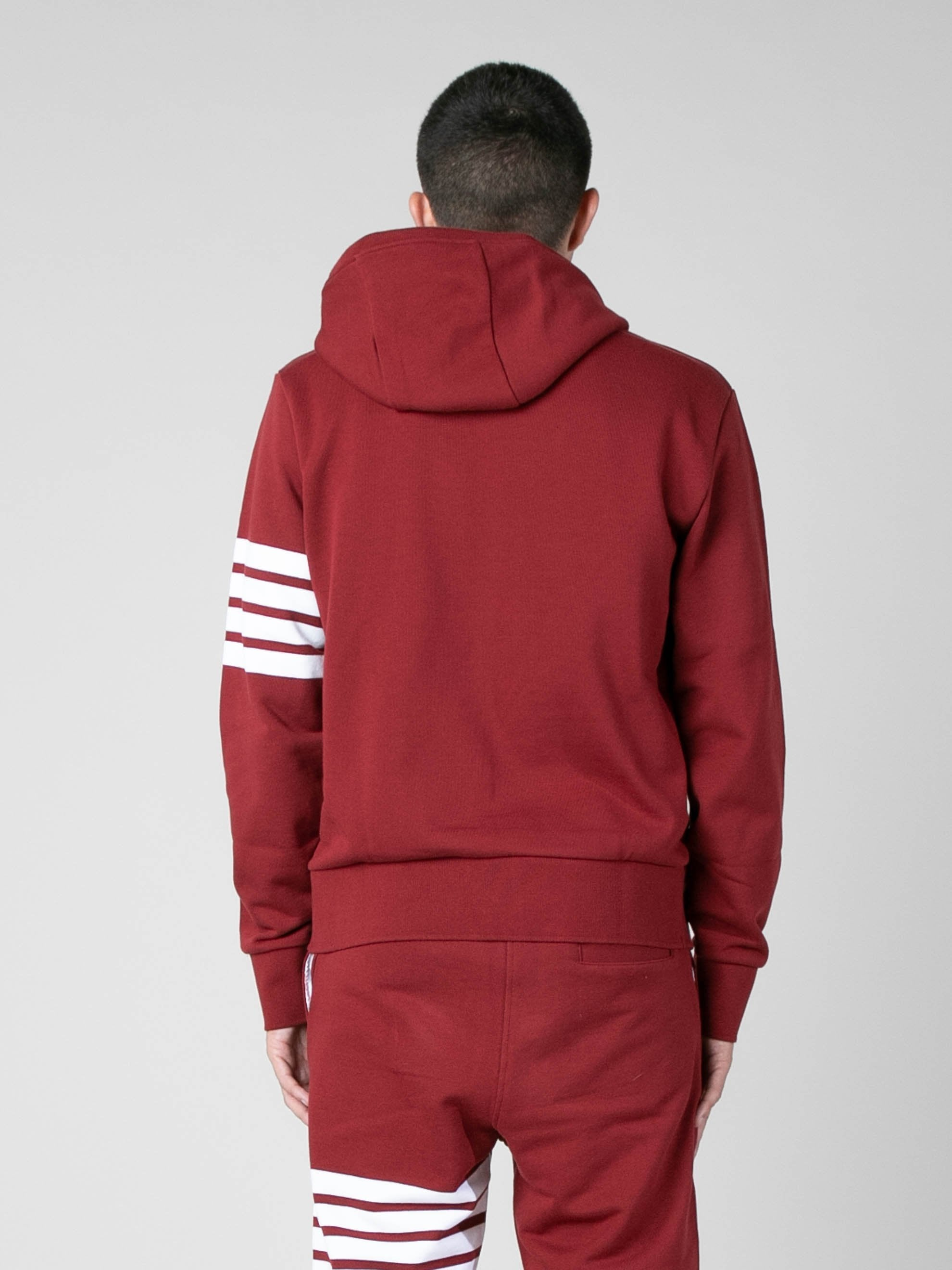 Med Red Hoodie Pullover In Classic Loop Back w/ Engineered 4 Bar 6