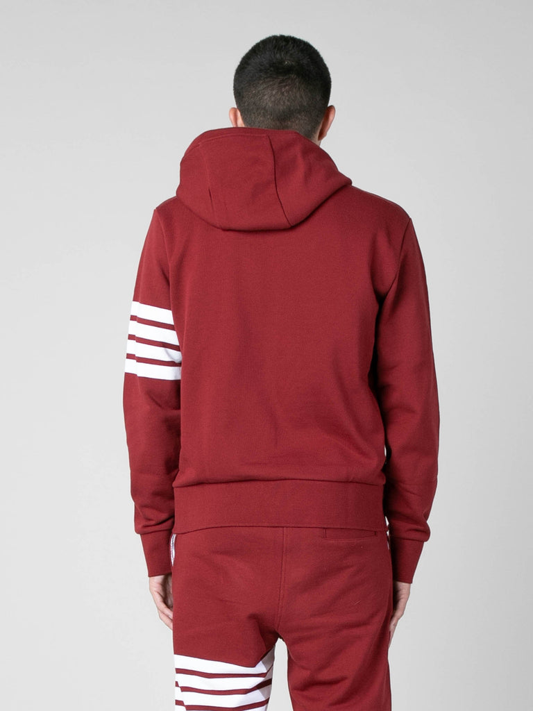 Med Red Hoodie Pullover In Classic Loop Back w/ Engineered 4 Bar 613570325413965