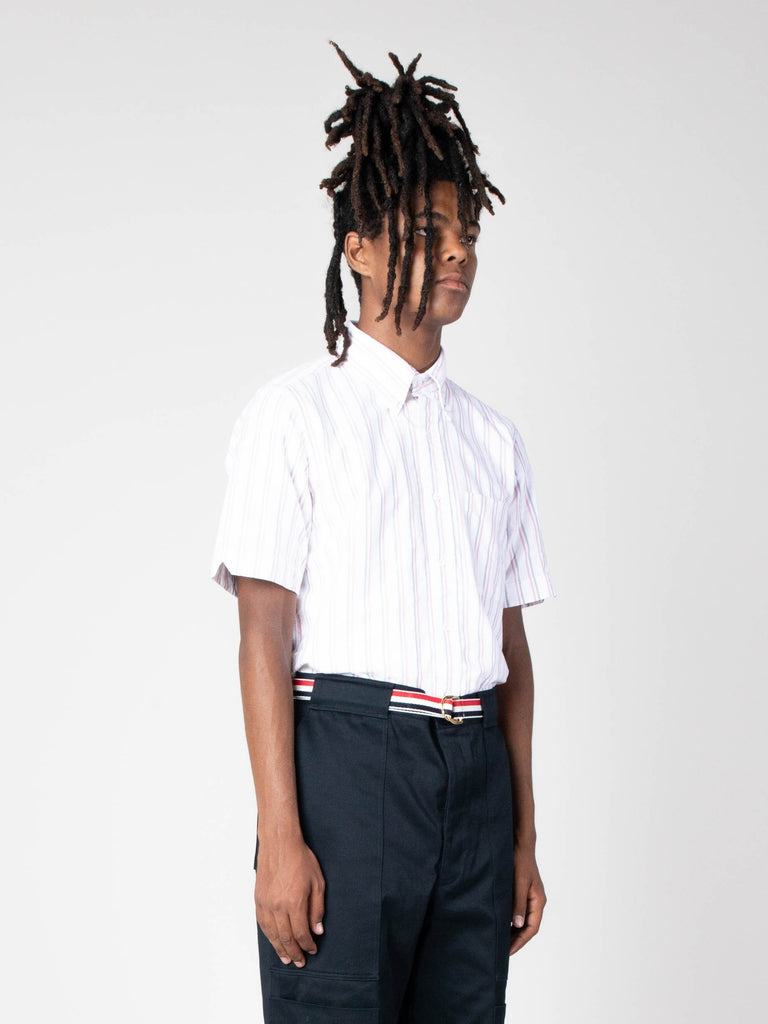 White Straight Fit BD SS Shirt W/ CB RWB GG In Tri Color Stripe Oxford 513570487255117