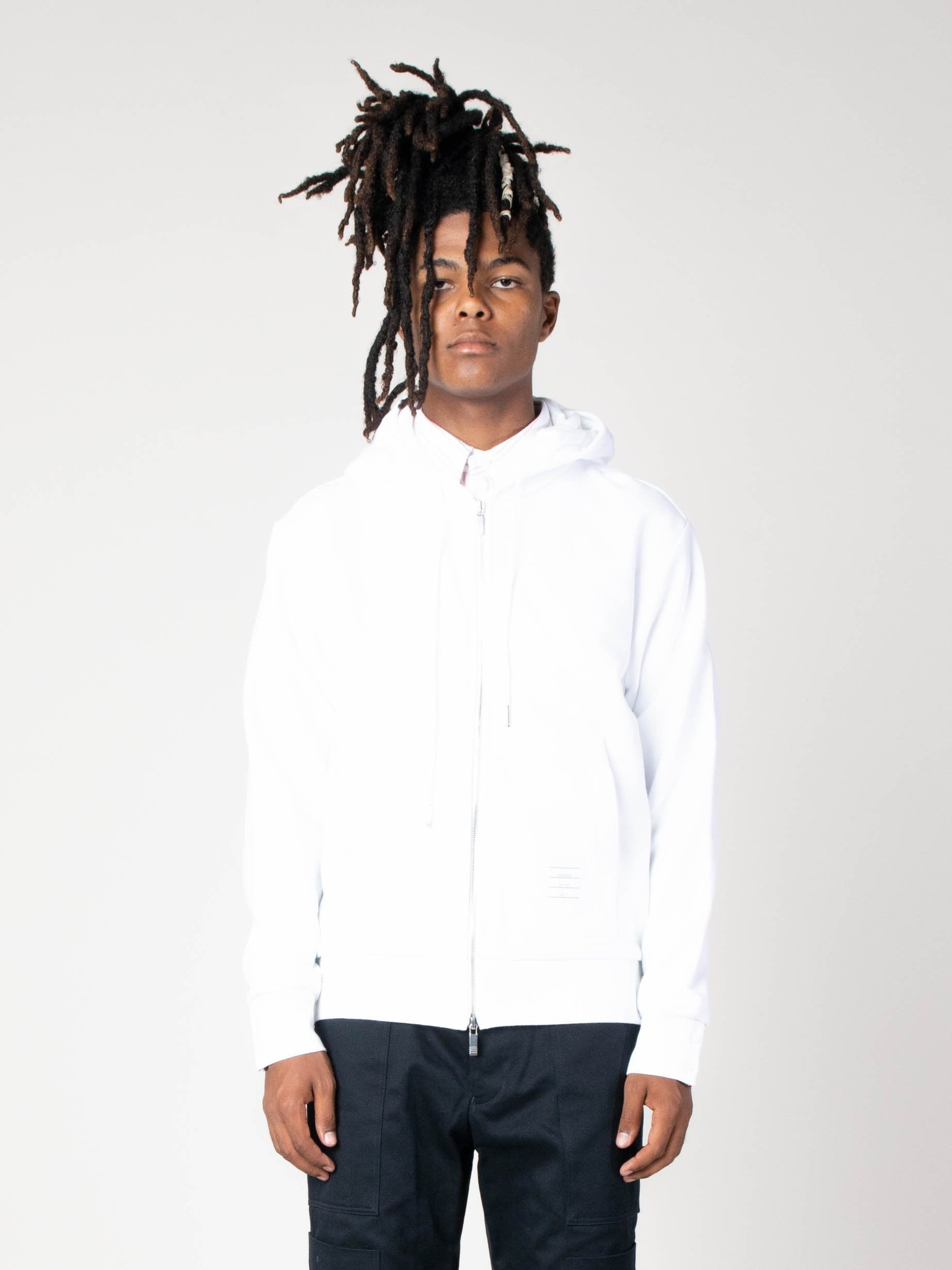 White Hoodie Zip-Up Pullover In Classic Loopback With CB RWB Stripe 2