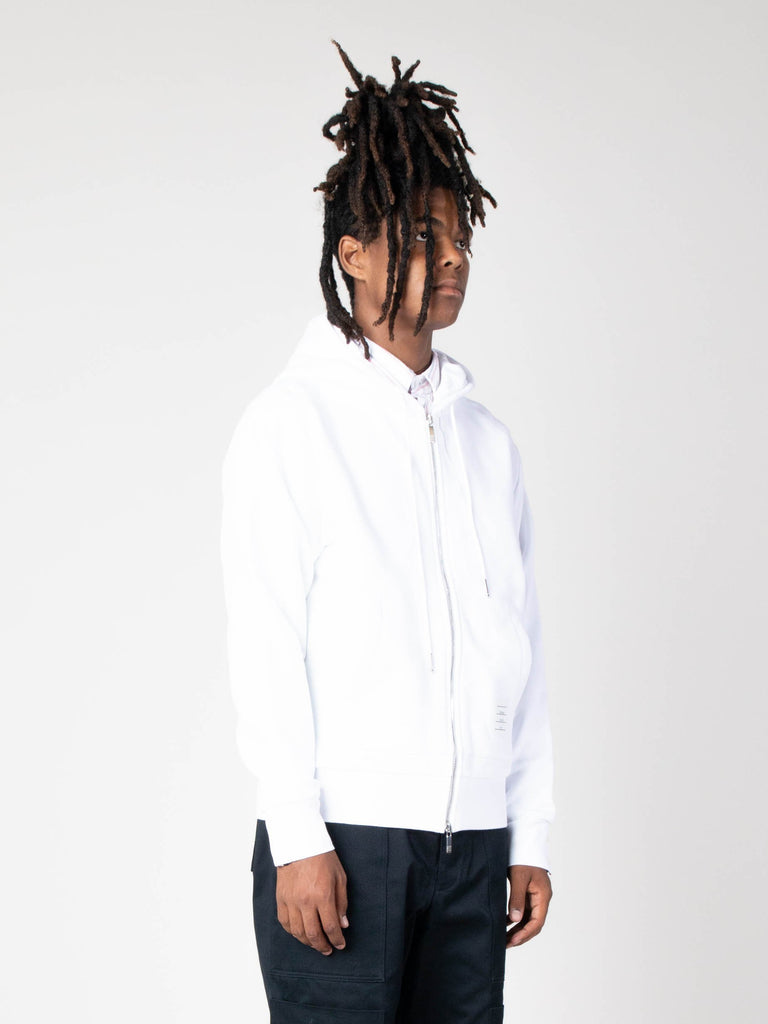 White Hoodie Zip-Up Pullover In Classic Loopback With CB RWB Stripe 413570488664141