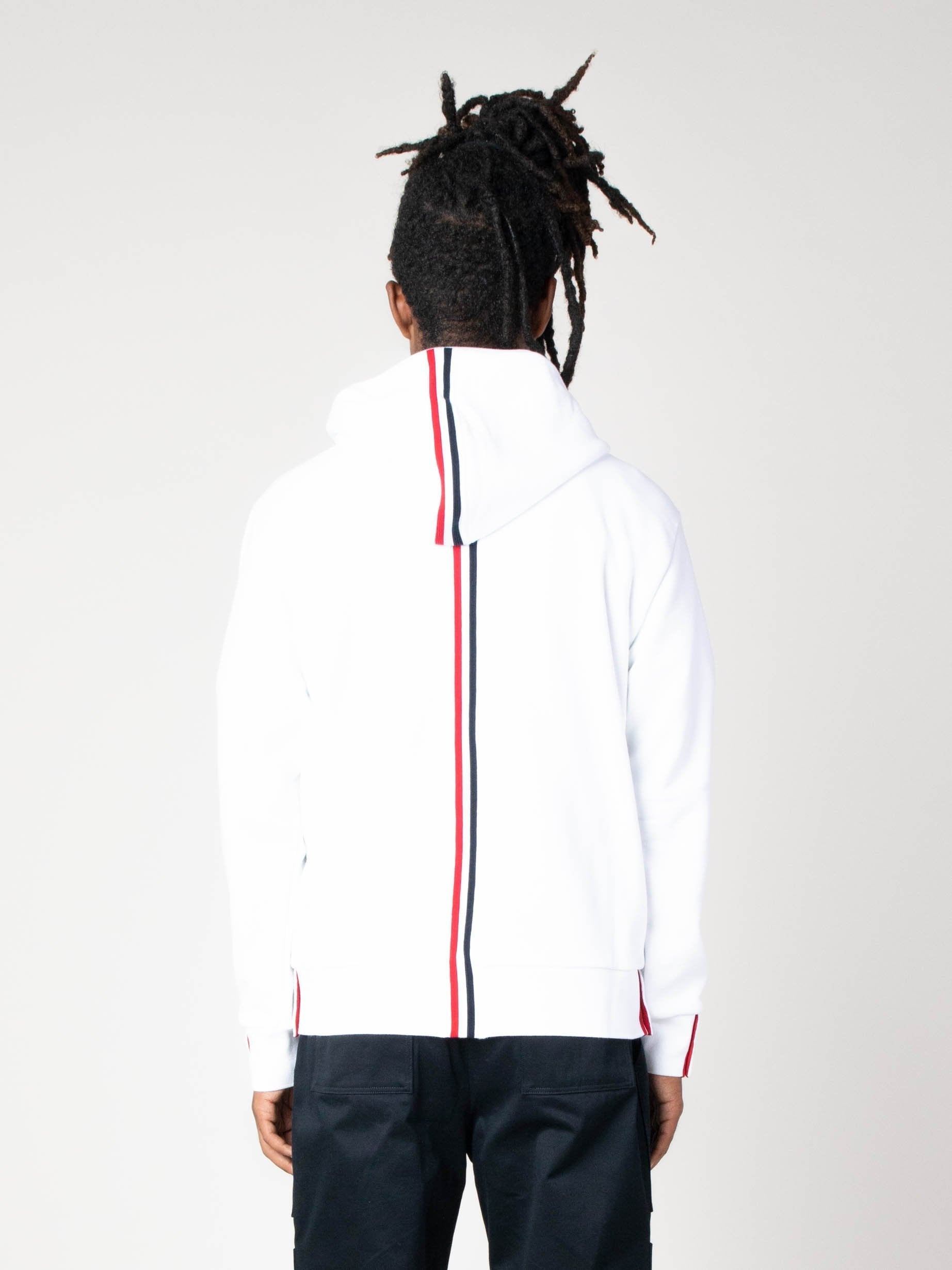 White Hoodie Zip-Up Pullover In Classic Loopback With CB RWB Stripe 5